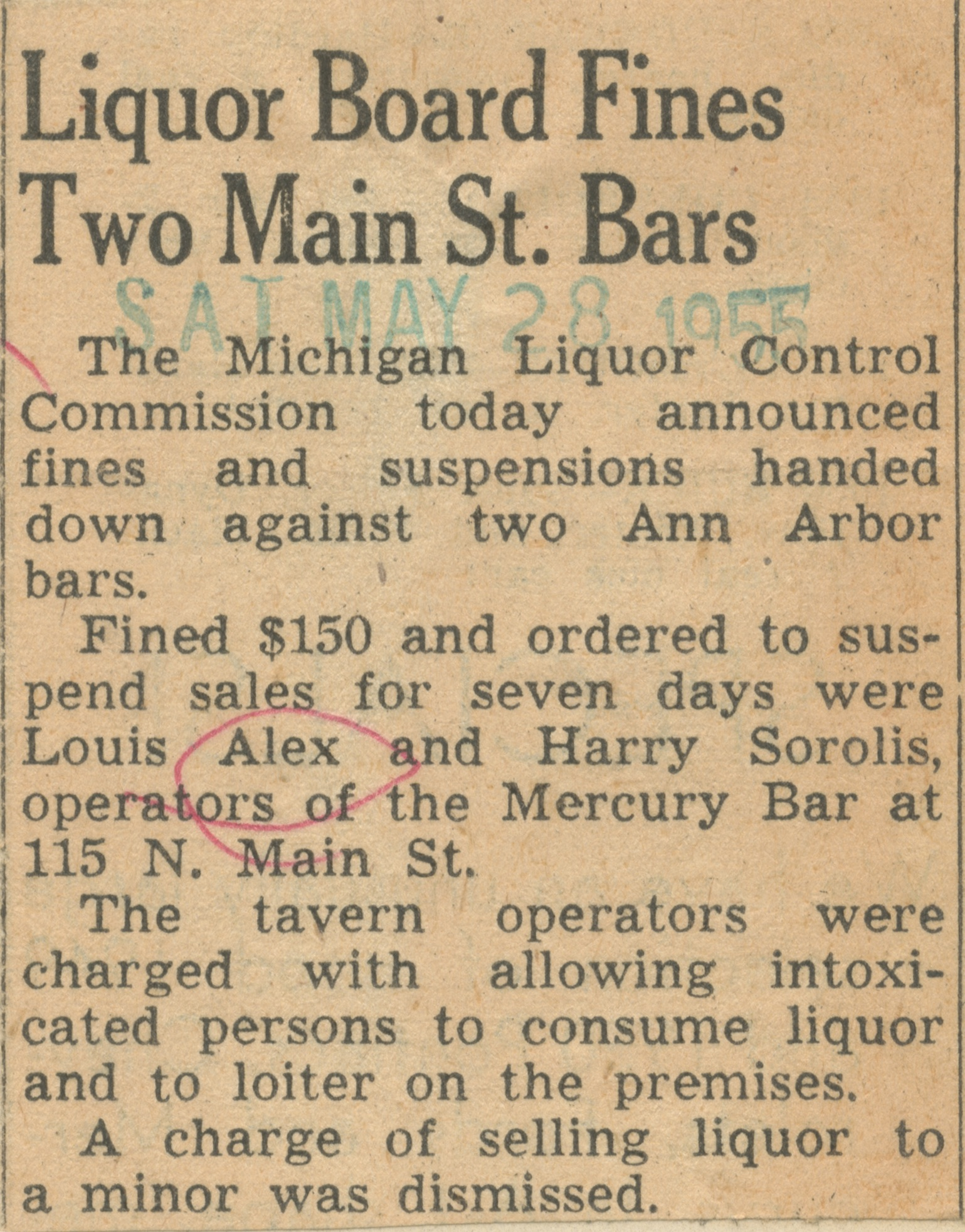 Liquor Board Fines Two Main St. Bars image