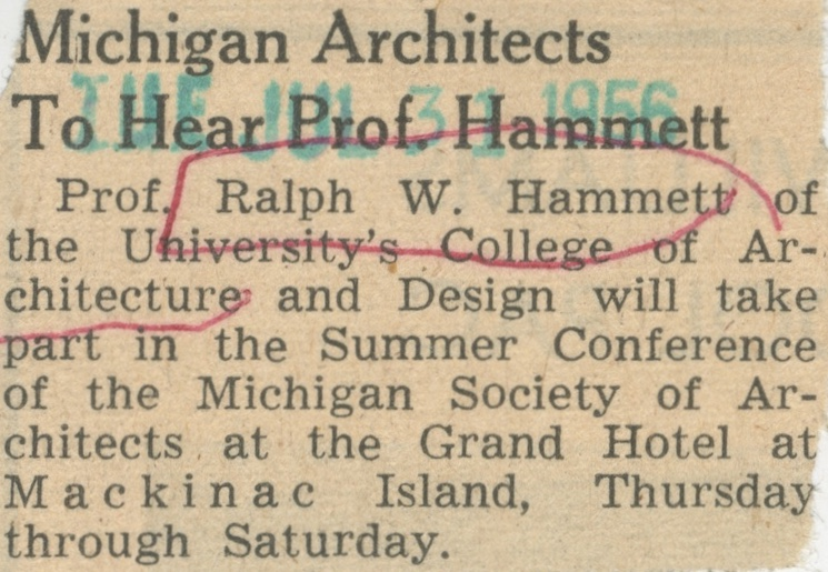 Michigan Architects To Hear Prof. Hammett image
