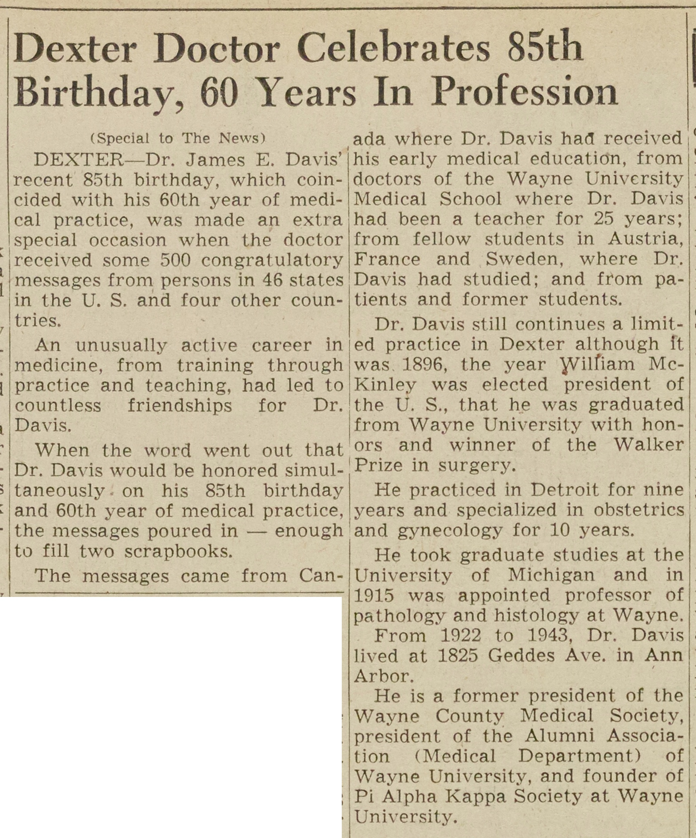 Dexter Doctor Celebrates 85th Birthday, 60 Years In Profession image