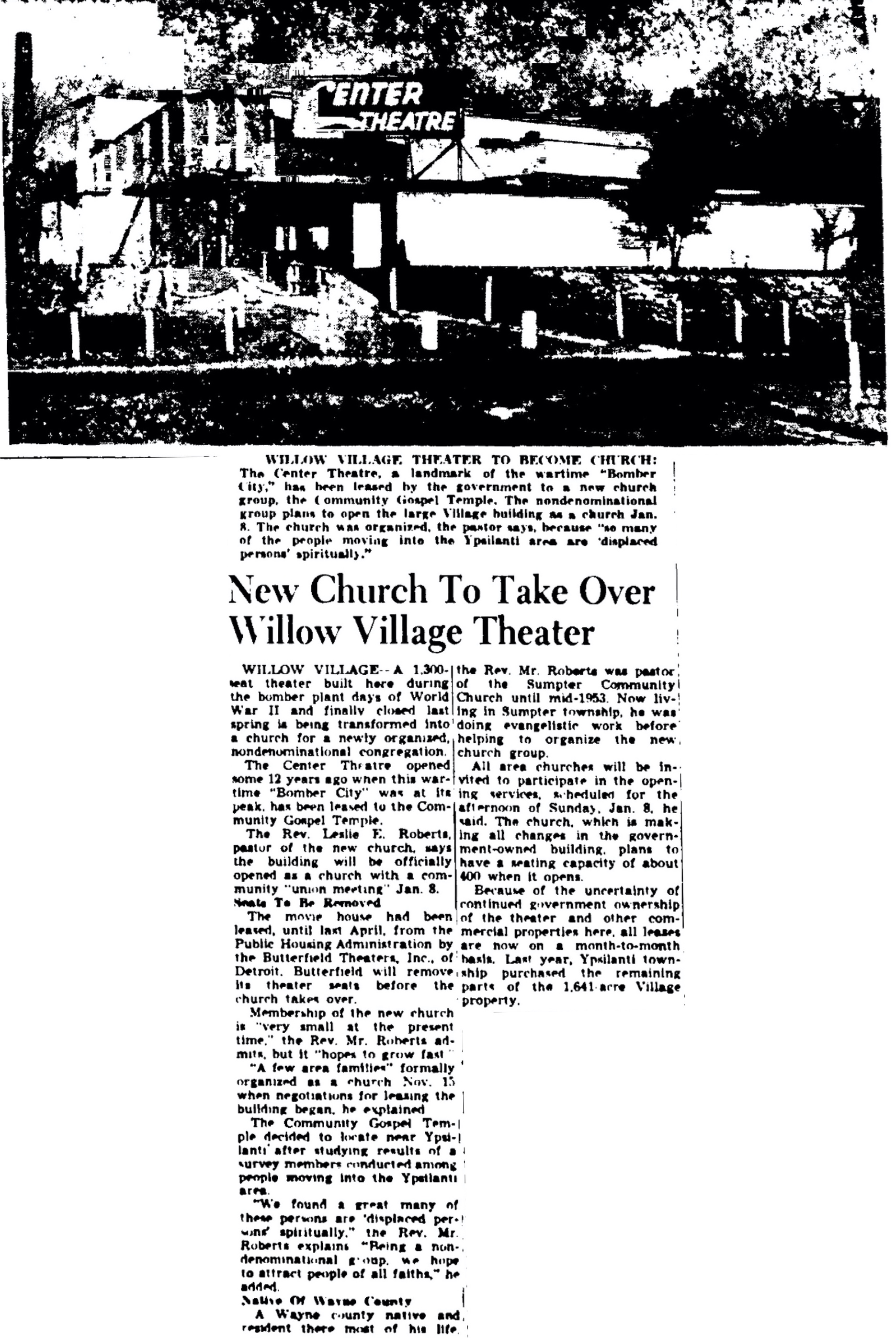 New Church To Take Over Willow Village Theater image