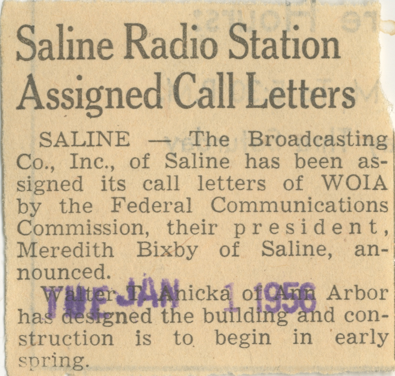 Saline Radio Station Assigned Call Letters image