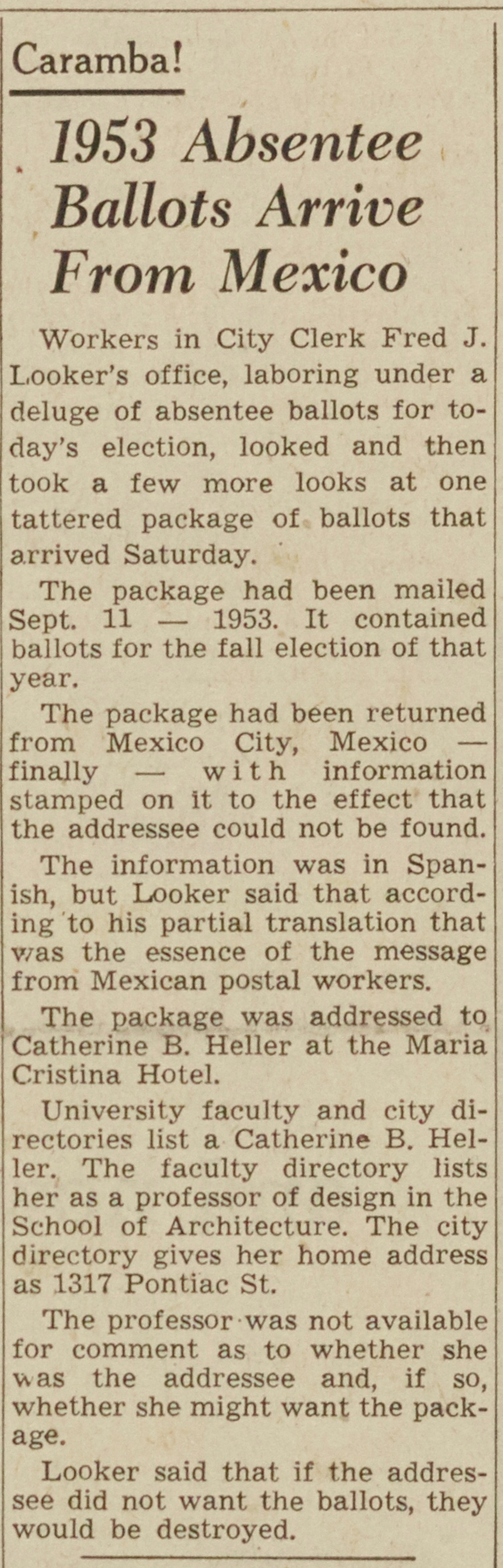 1953 Absentee Ballots Arrive From Mexico image