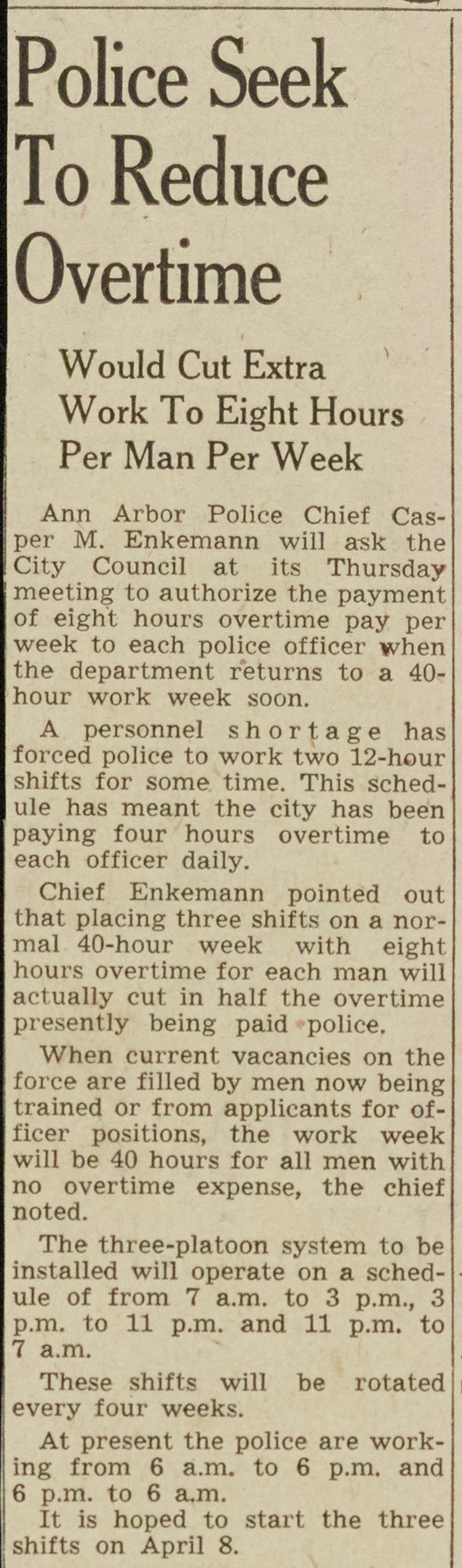 Police Seek To Reduce Overtime image