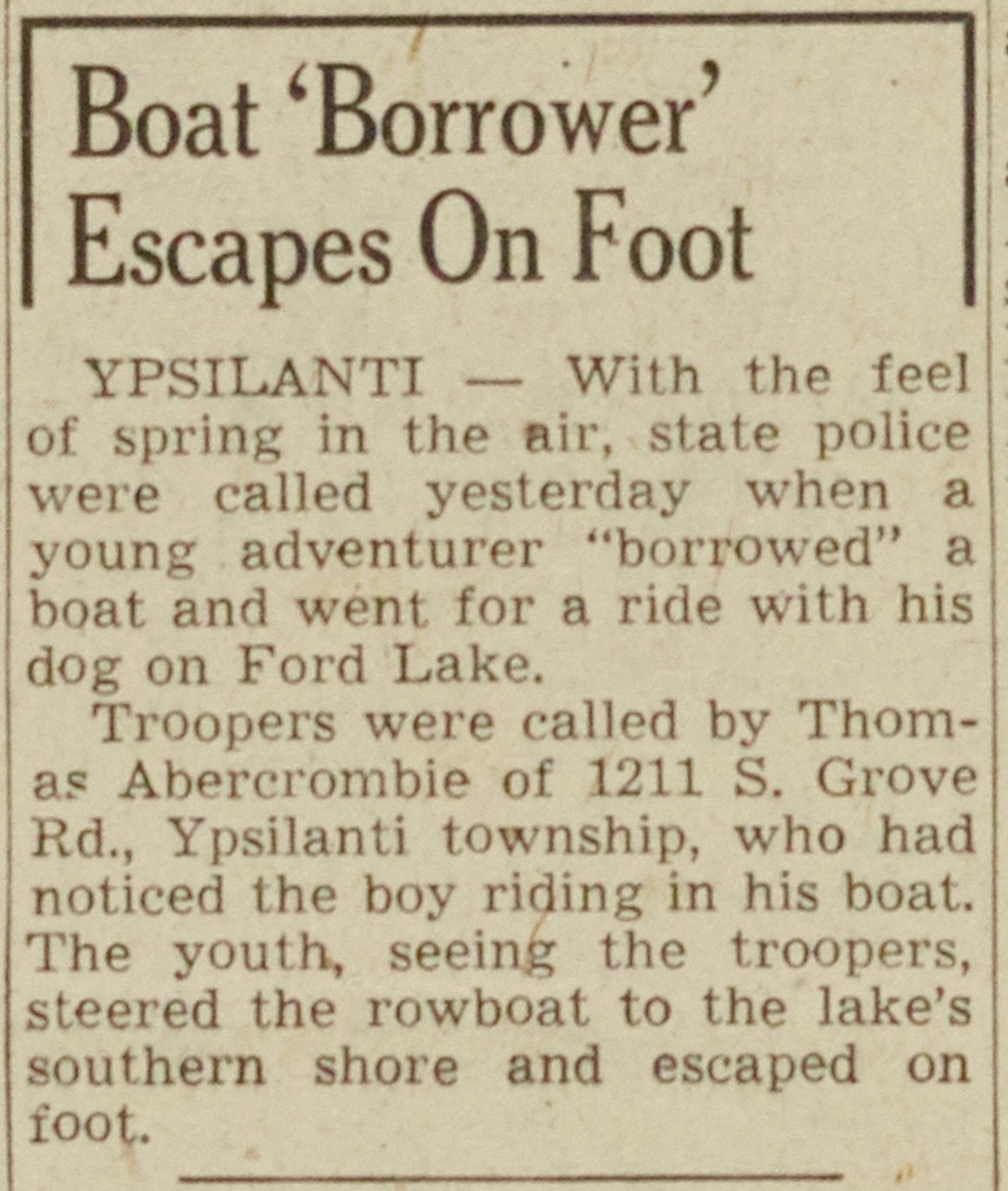 Boat 'Borrower' Escapes On Foot image