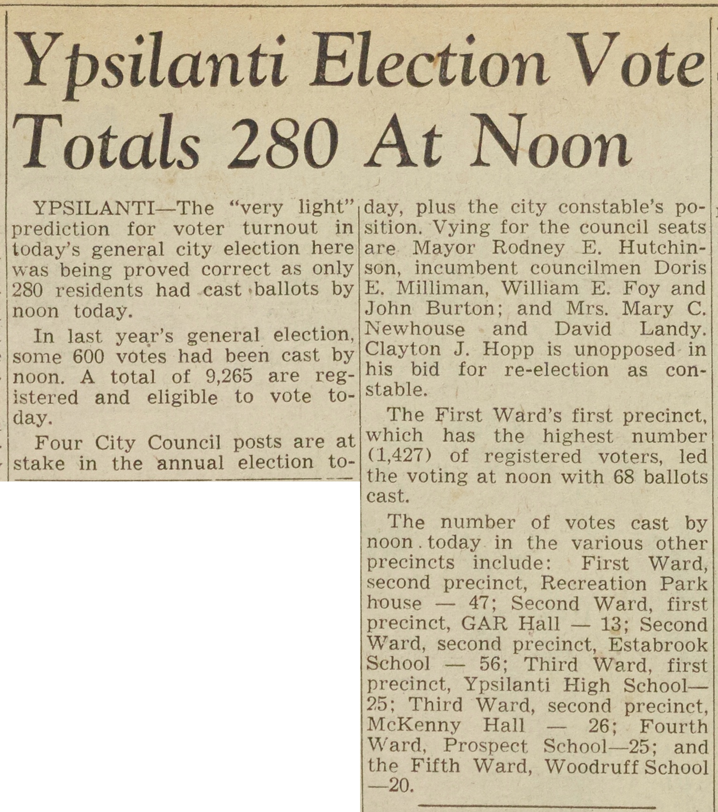 Ypsilanti Election Vote Totals 280 At Noon image