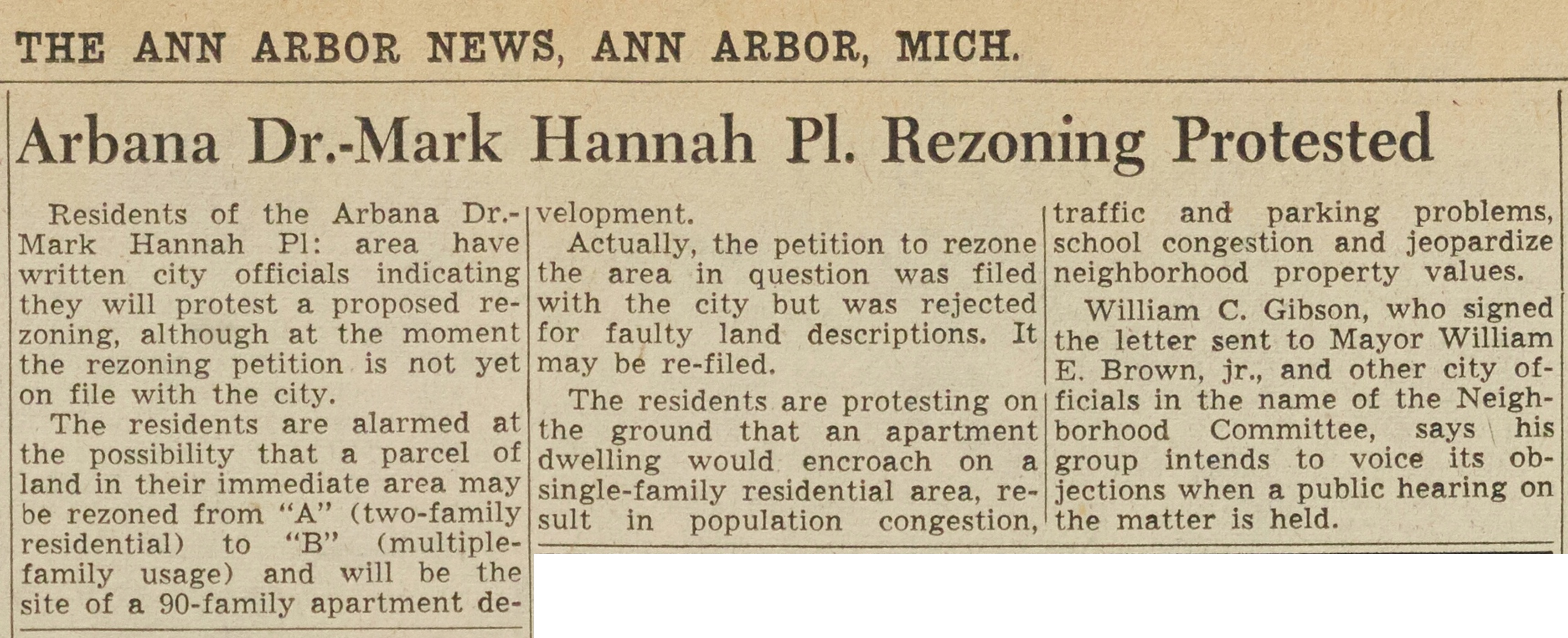 Arbana Dr. - Mark Hannah Pl. Rezoning Protested image