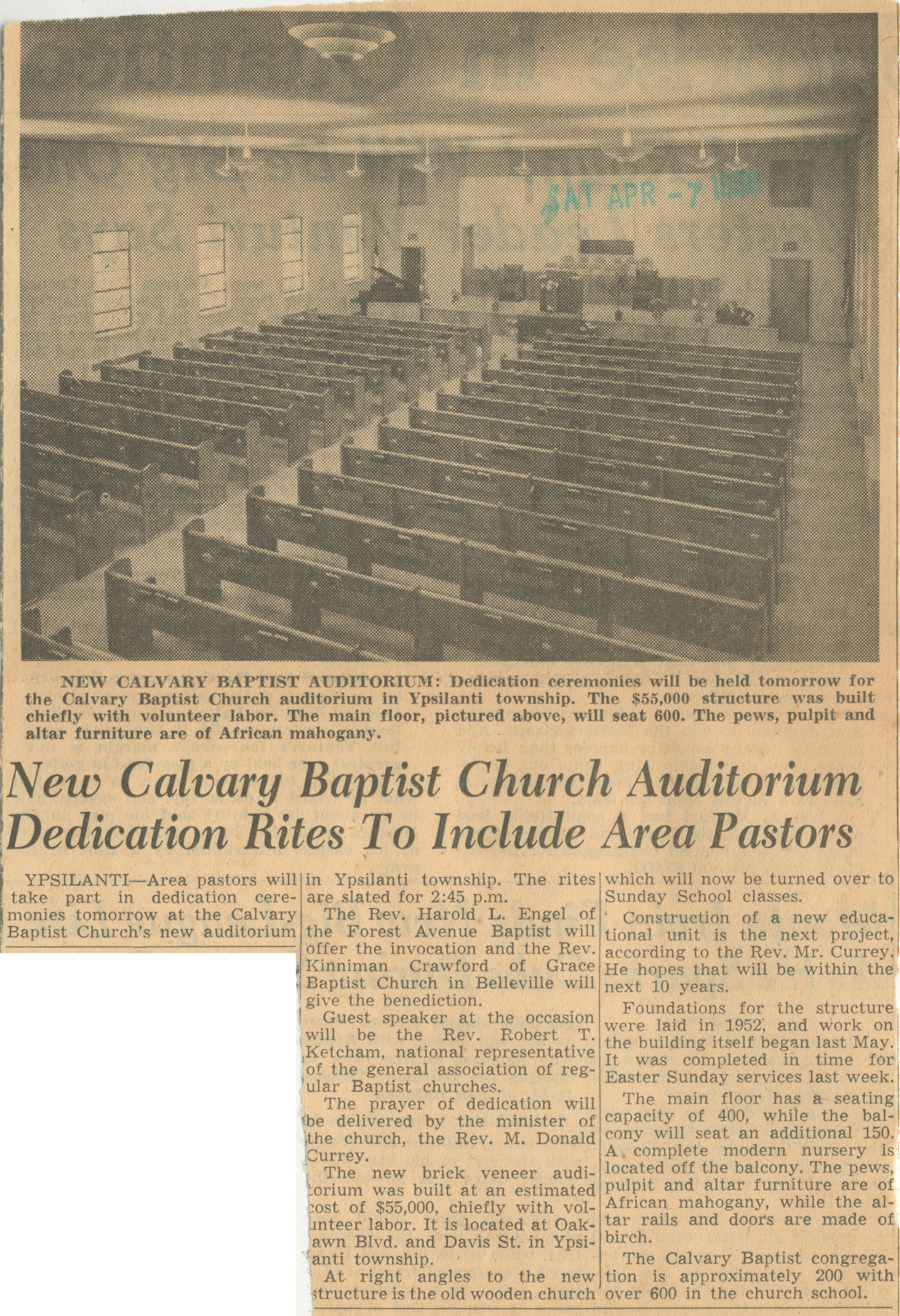 New Calvary Baptist Church Auditorium Dedication Rites To Include Area Pastors image