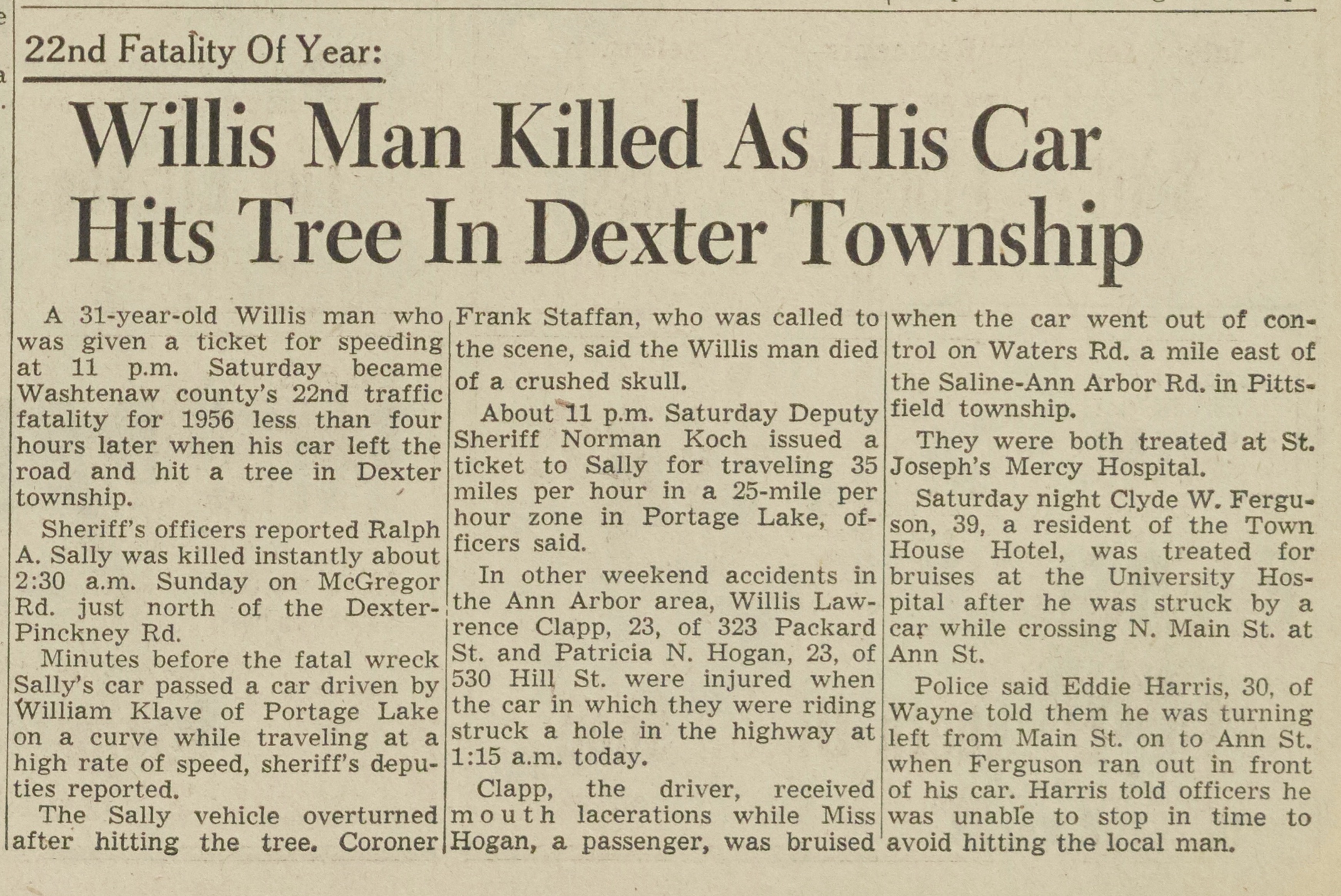 Willis Man Killed As His Car Hits Tree In Dexter Township image