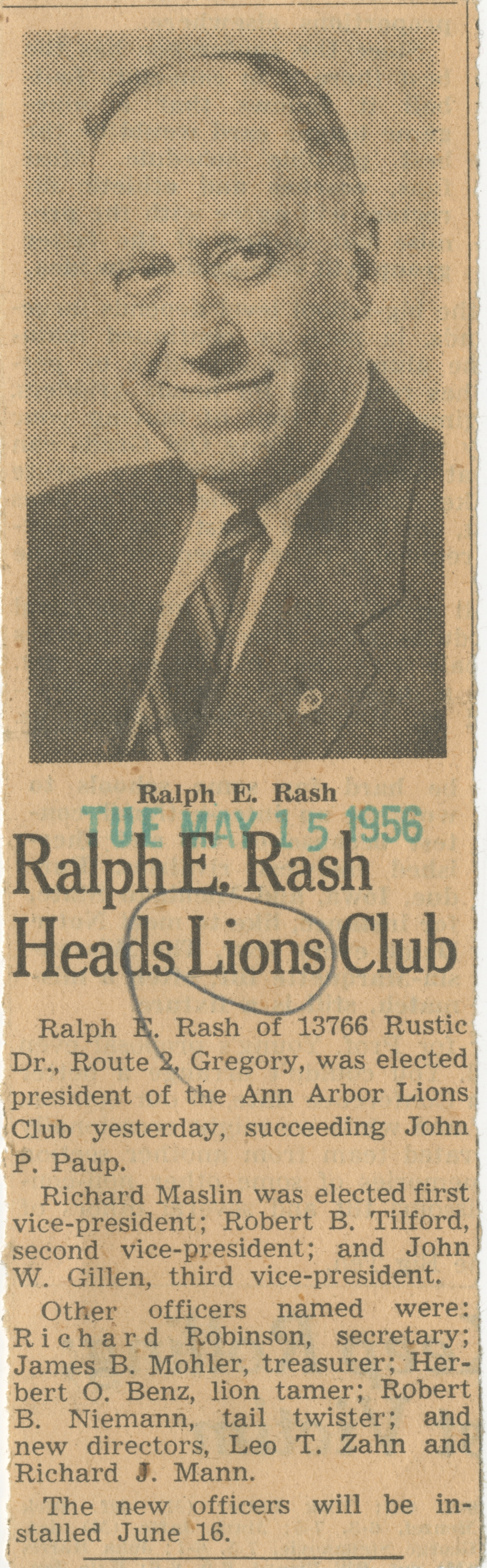 Ralph E. Rash Heads Lions Club image