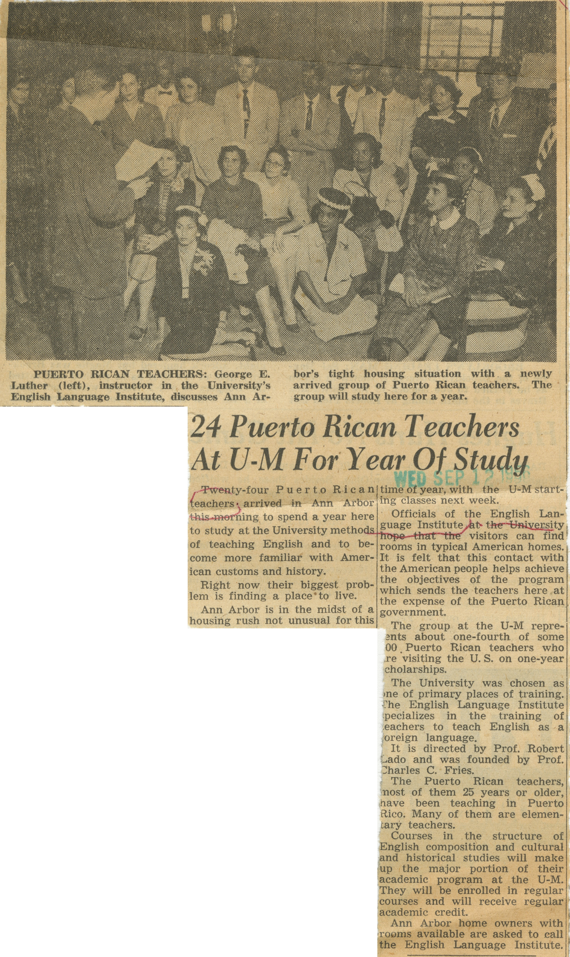 24 Puerto Rican Teachers At U-M For Year Of Study image