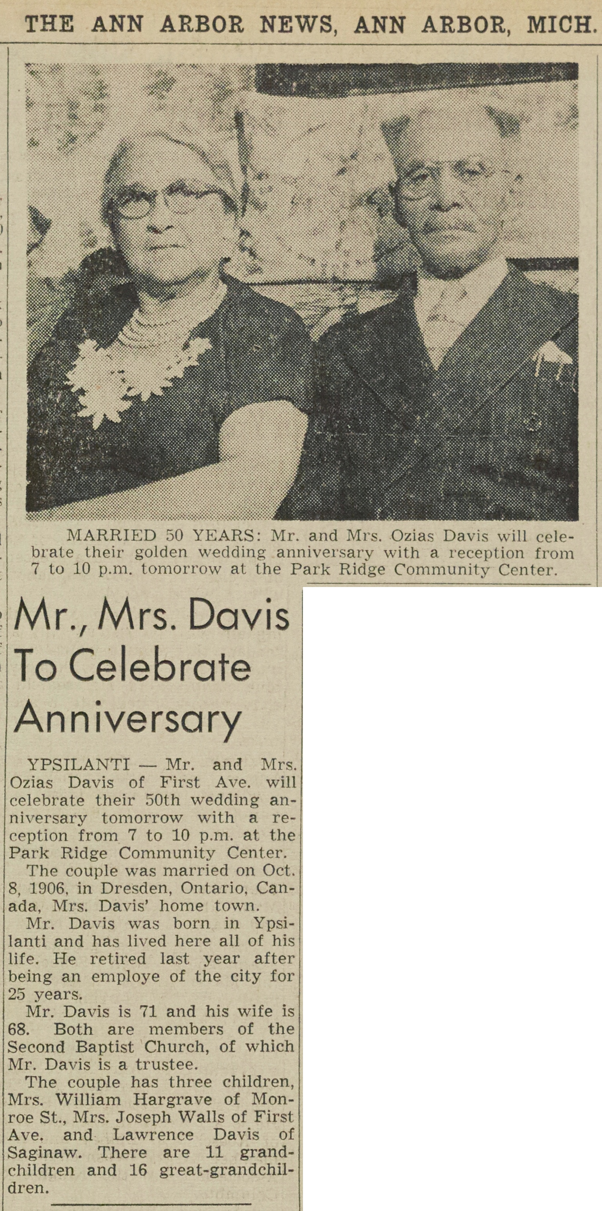 Mr., Mrs. Davis To Celebrate Anniversary image