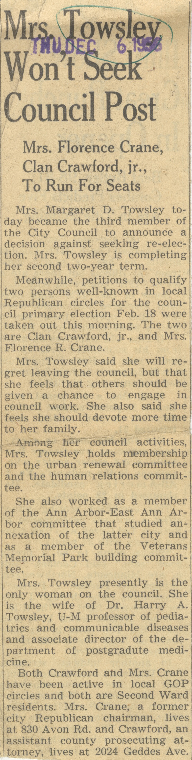 Mrs. Towsley Won't Seek Council Post image