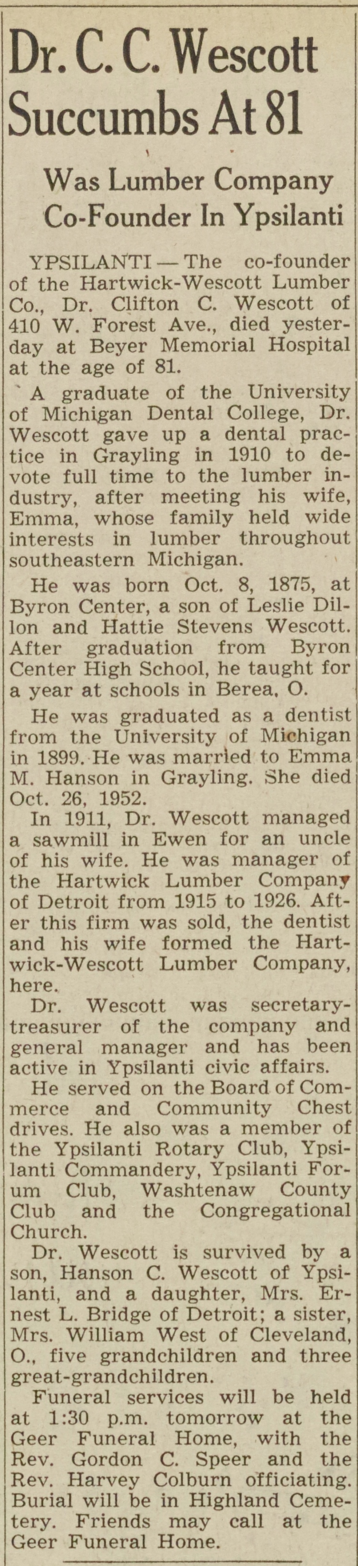 Dr. C. C. Wescott Succumbs At 81 image