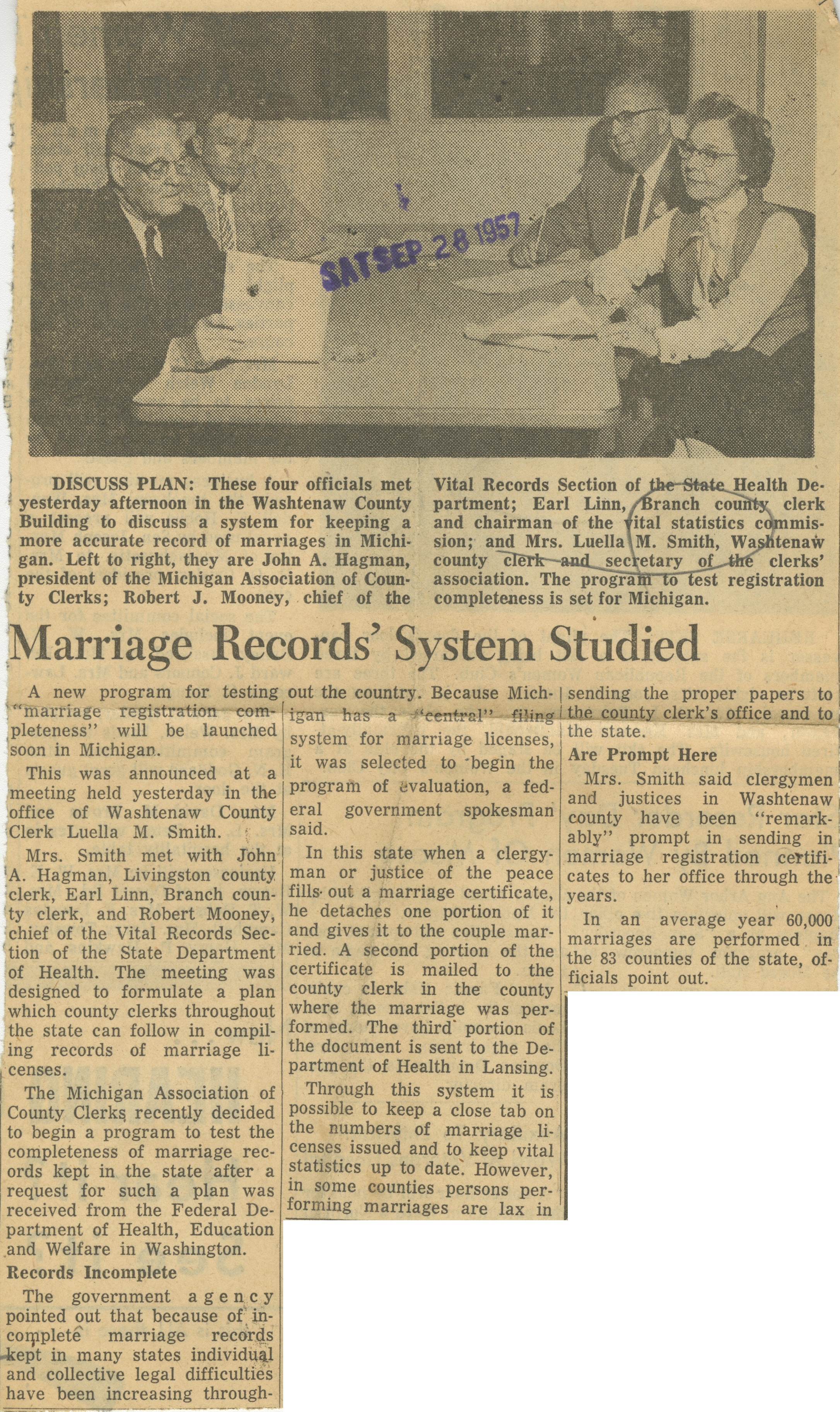 Marriage Records' System Studied image
