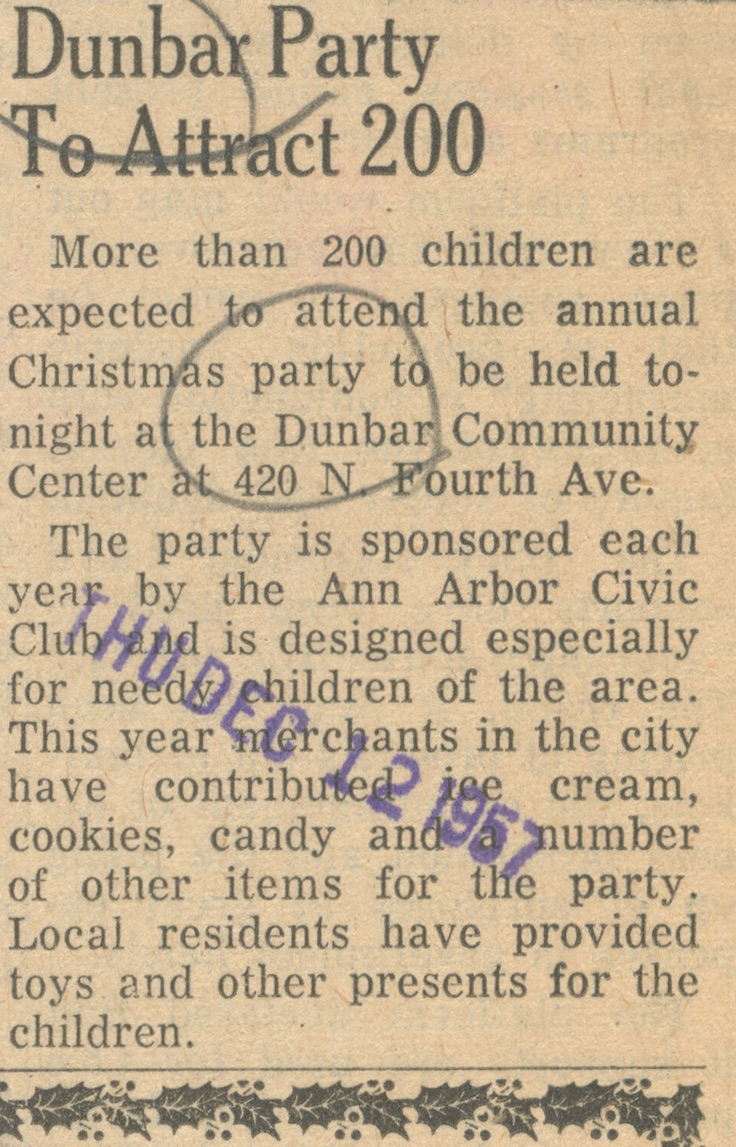 Dunbar Party To Attract 200 image