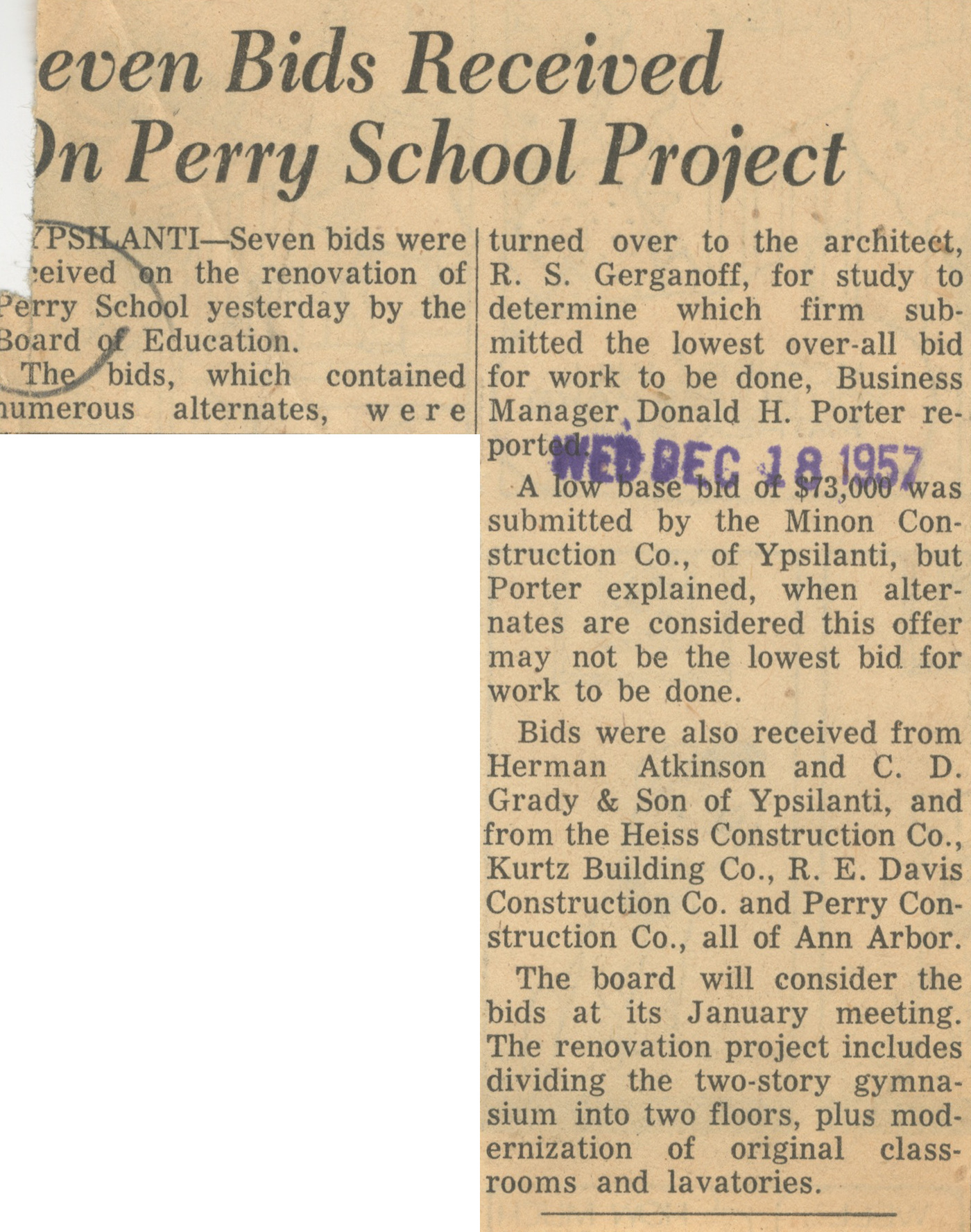 Seven Bids Received On Perry School Project image