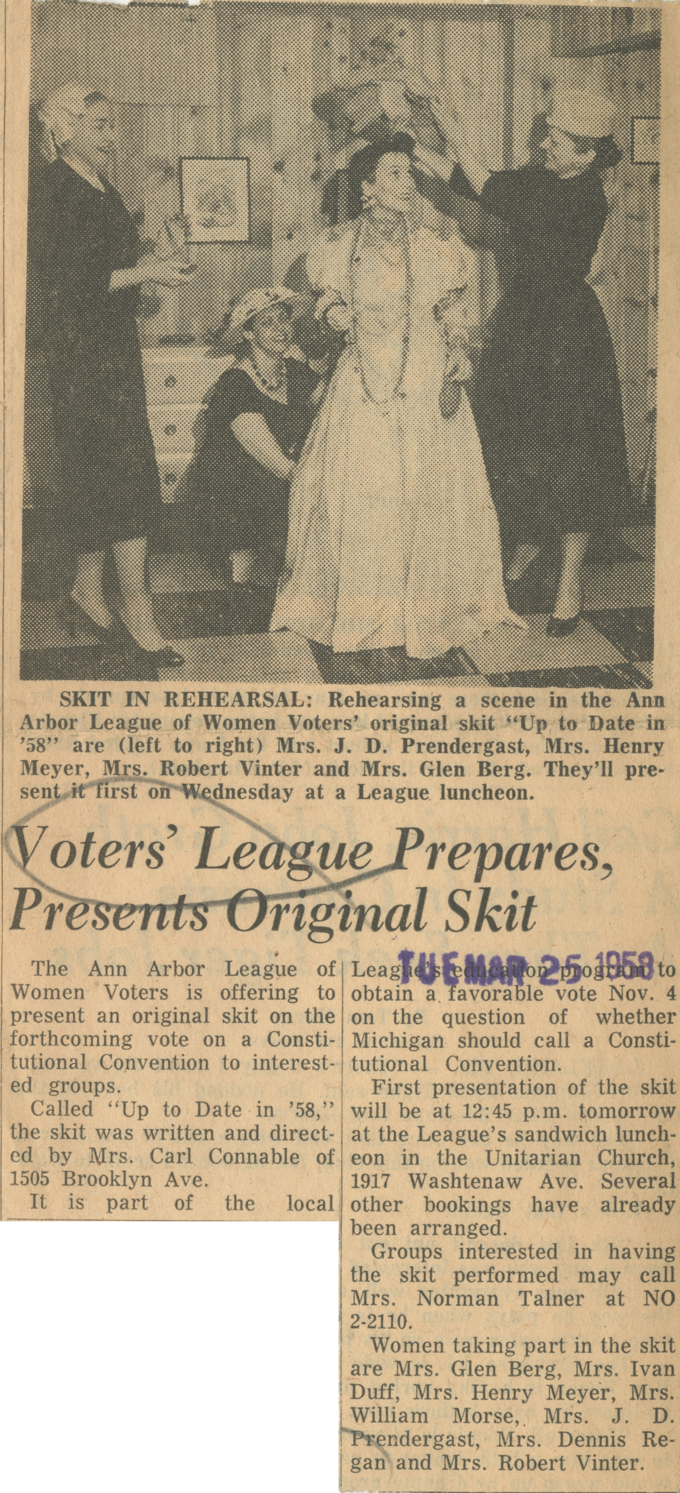 Voters' League Prepares, Presents Original Skit image