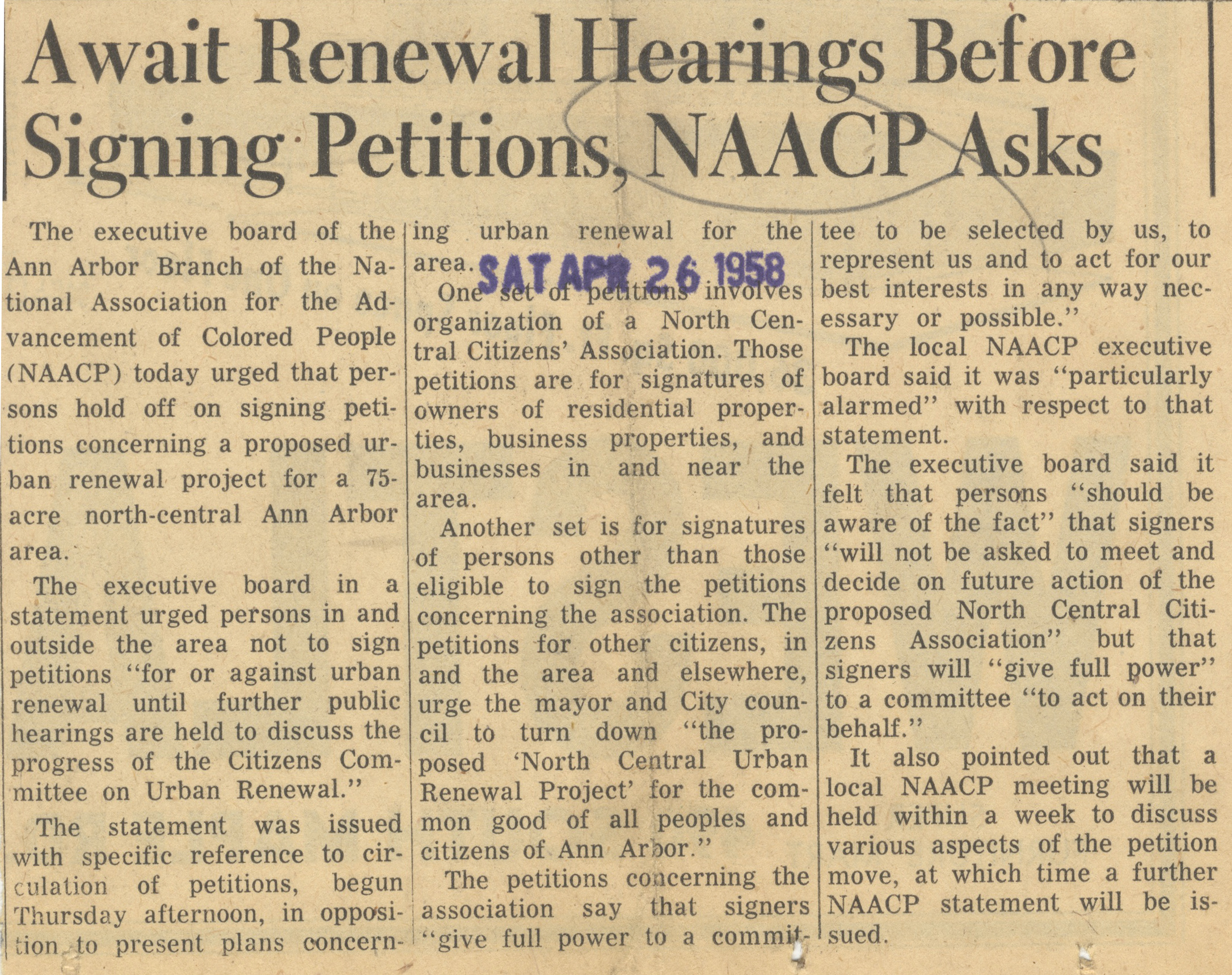 Await Renewal Hearings Before Signing Petitions, NAACP Asks image