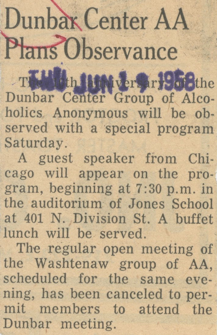 Dunbar Center AA Plans Observance image