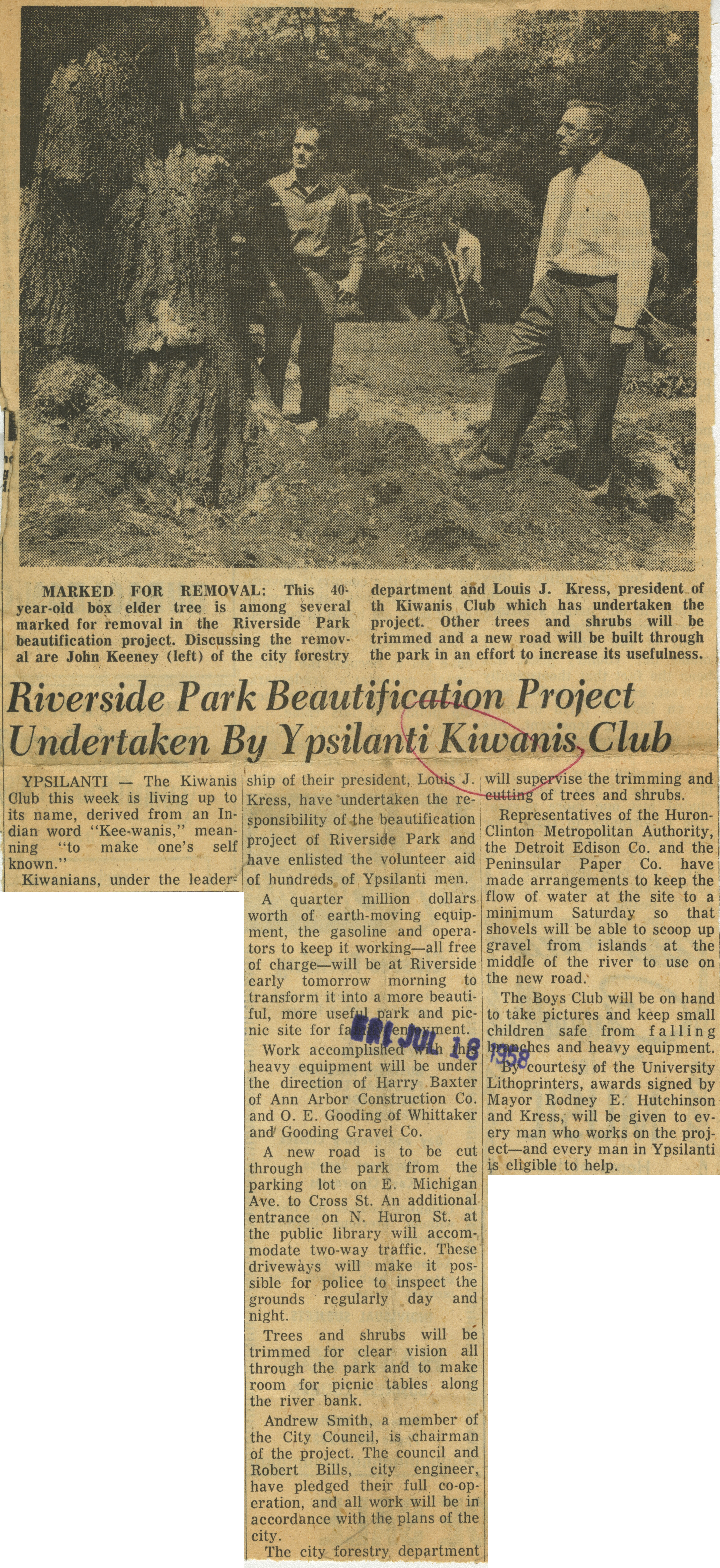 Riverside Park Beautification Project Undertaken By Ypsilanti Kiwanis Club image