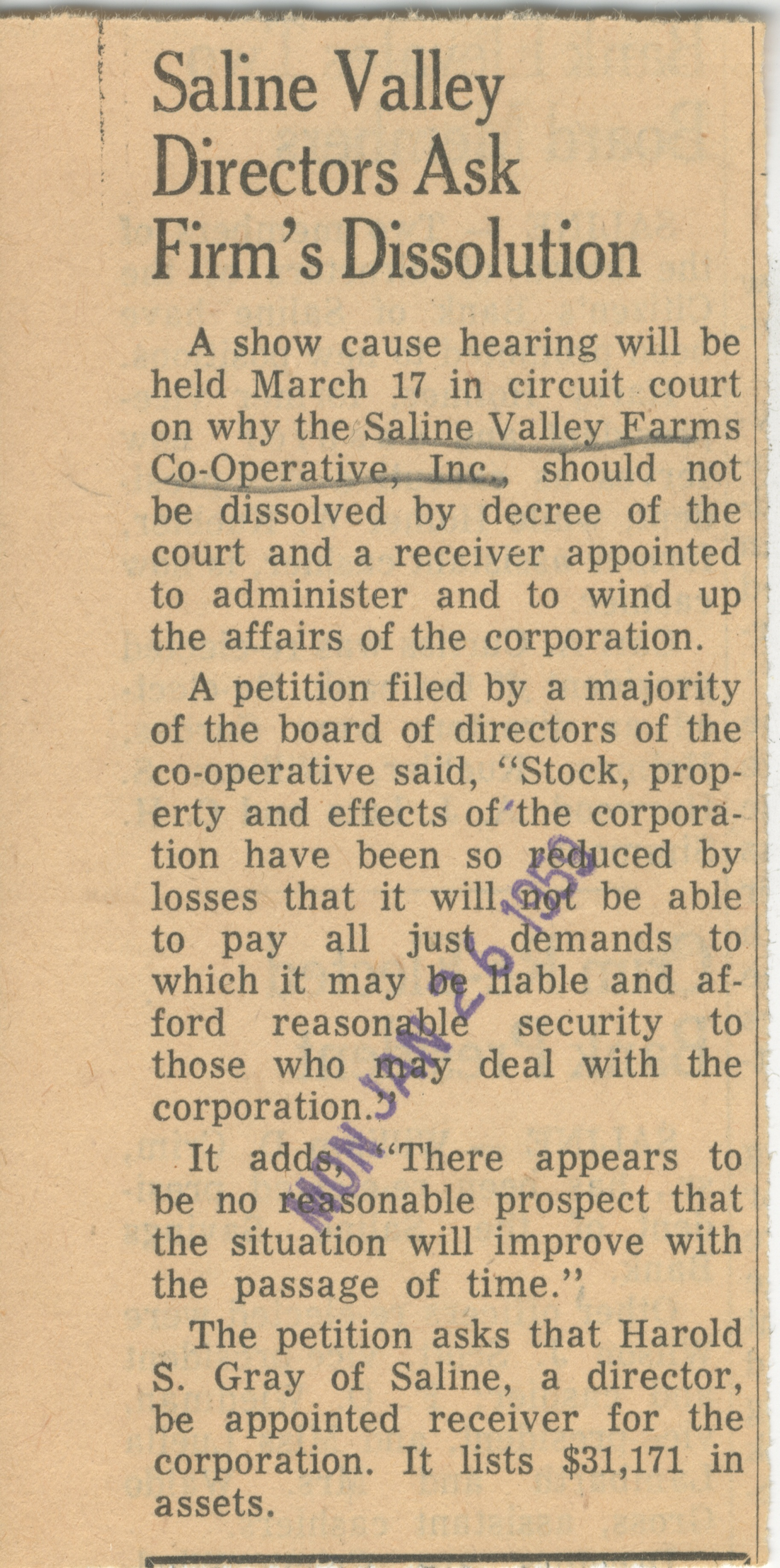 Saline Valley Director Ask Firm's Dissolution image