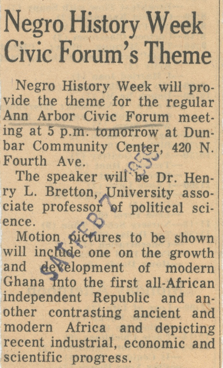 Negro History Week Civic Forum's Theme image