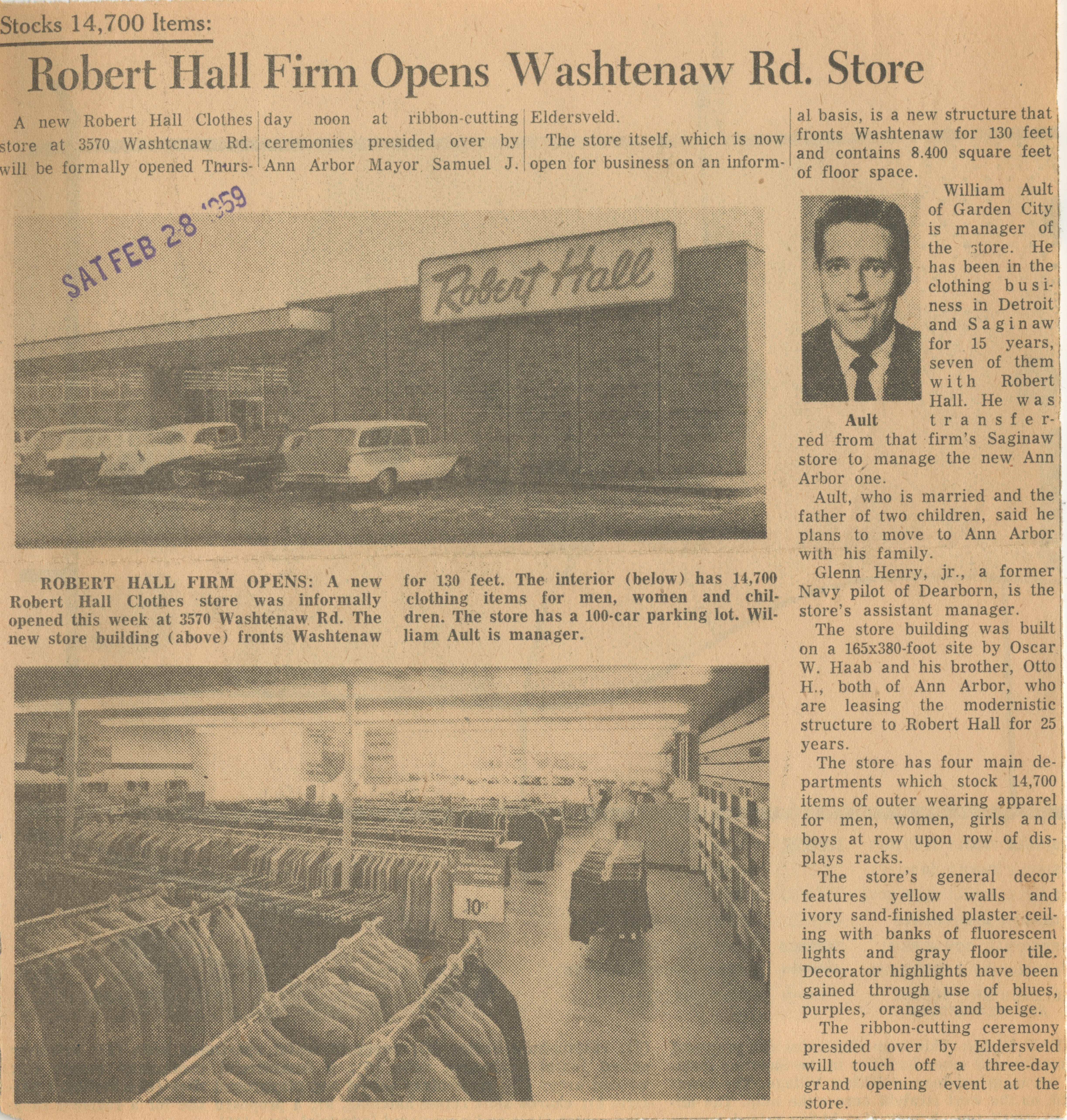 Robert Hall Firm Opens Washtenaw Rd. Store image