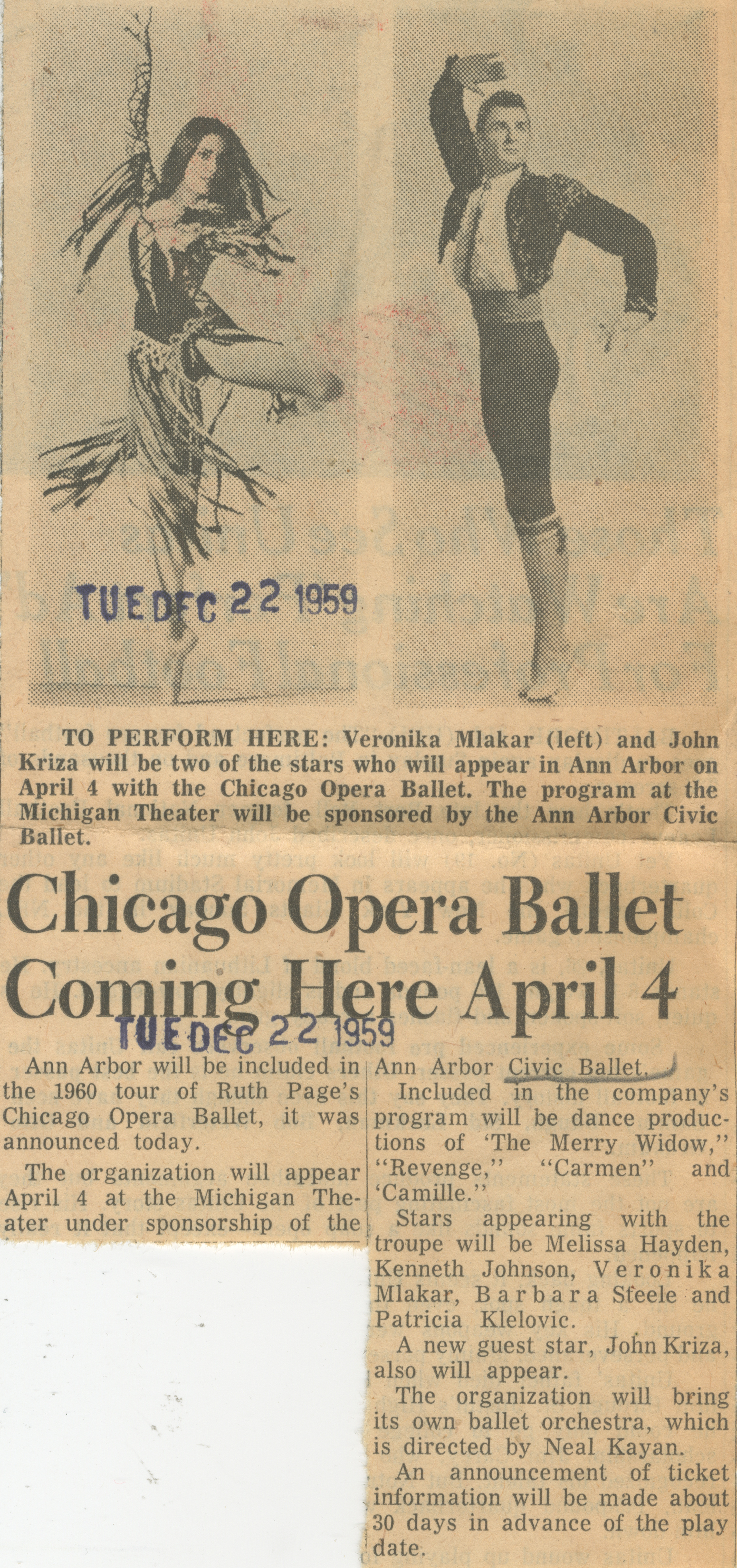 Chicago Opera Ballet Coming Here April 4 image