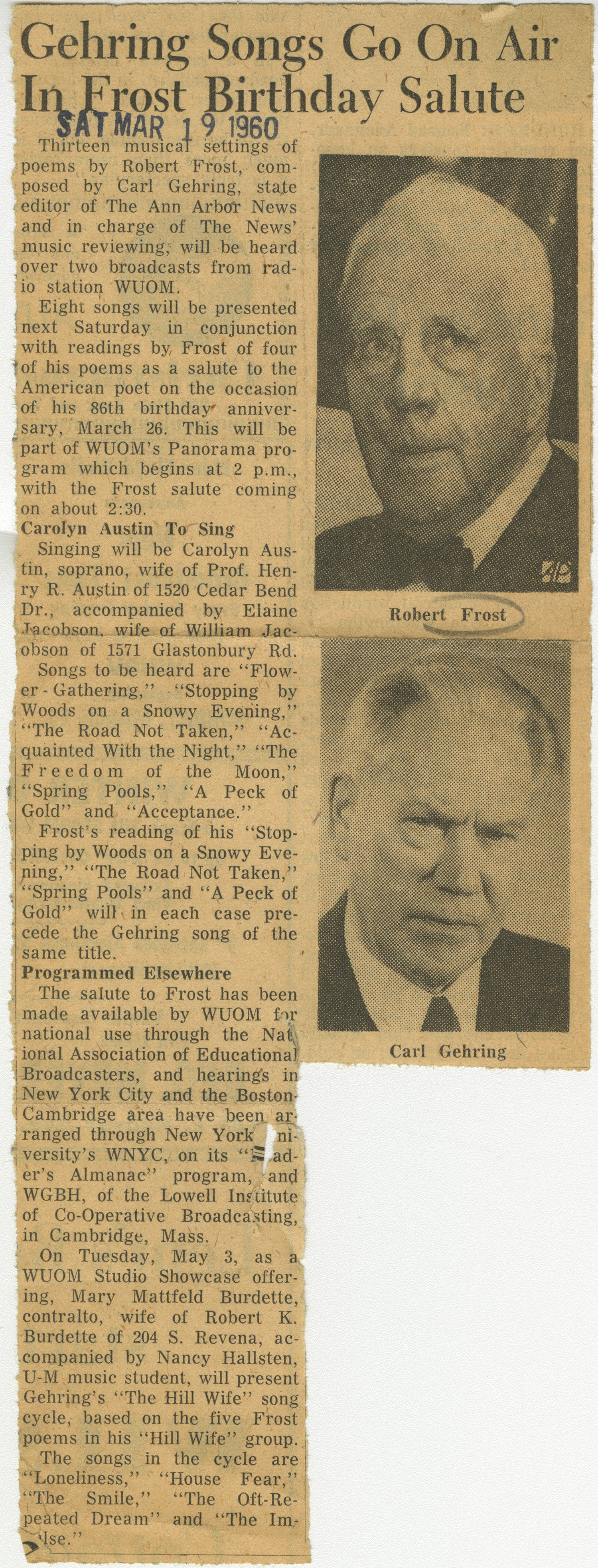 Gehring Songs Go On Air In Frost Birthday Salute image