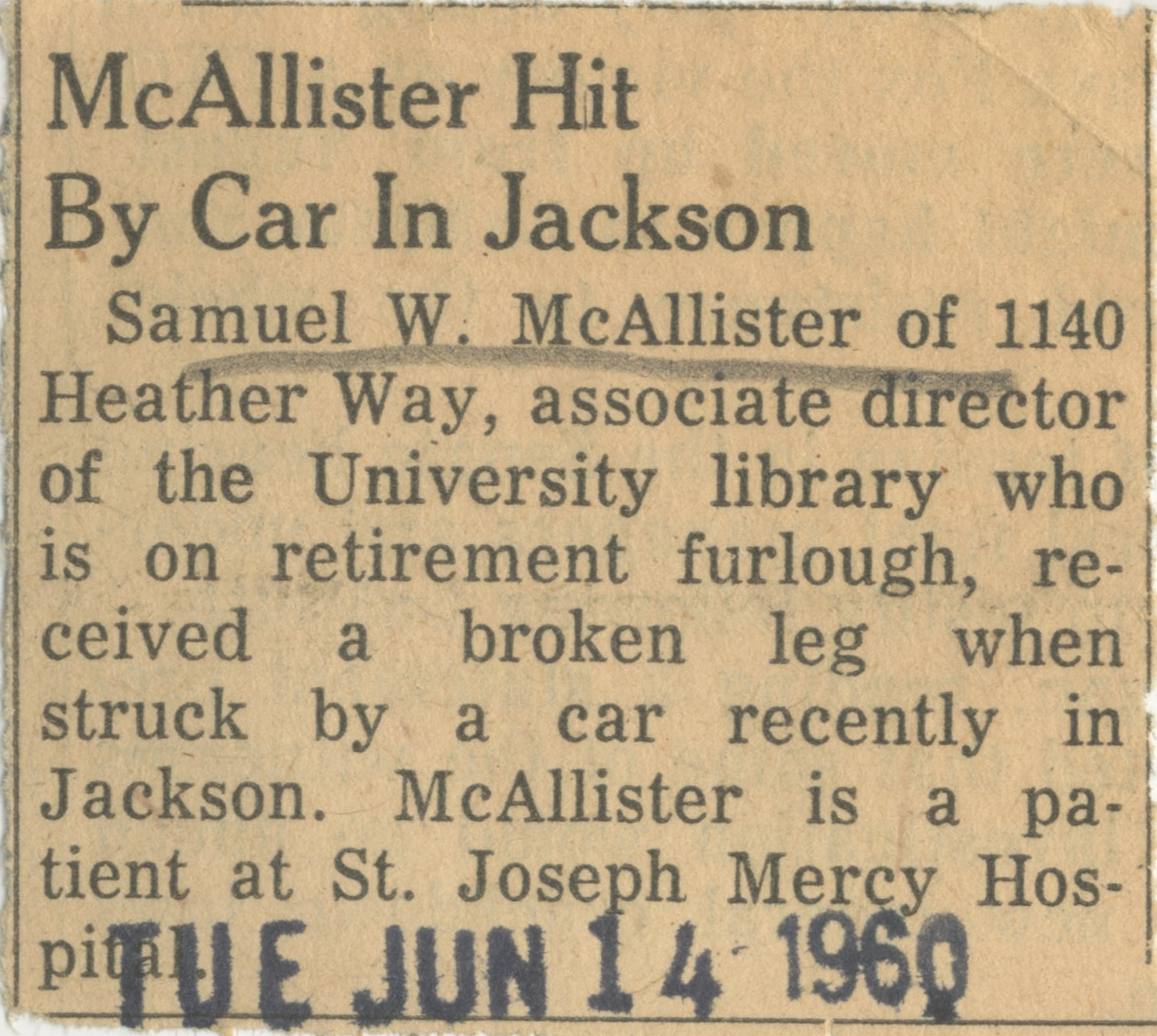 McAllister Hit By Car In Jackson image