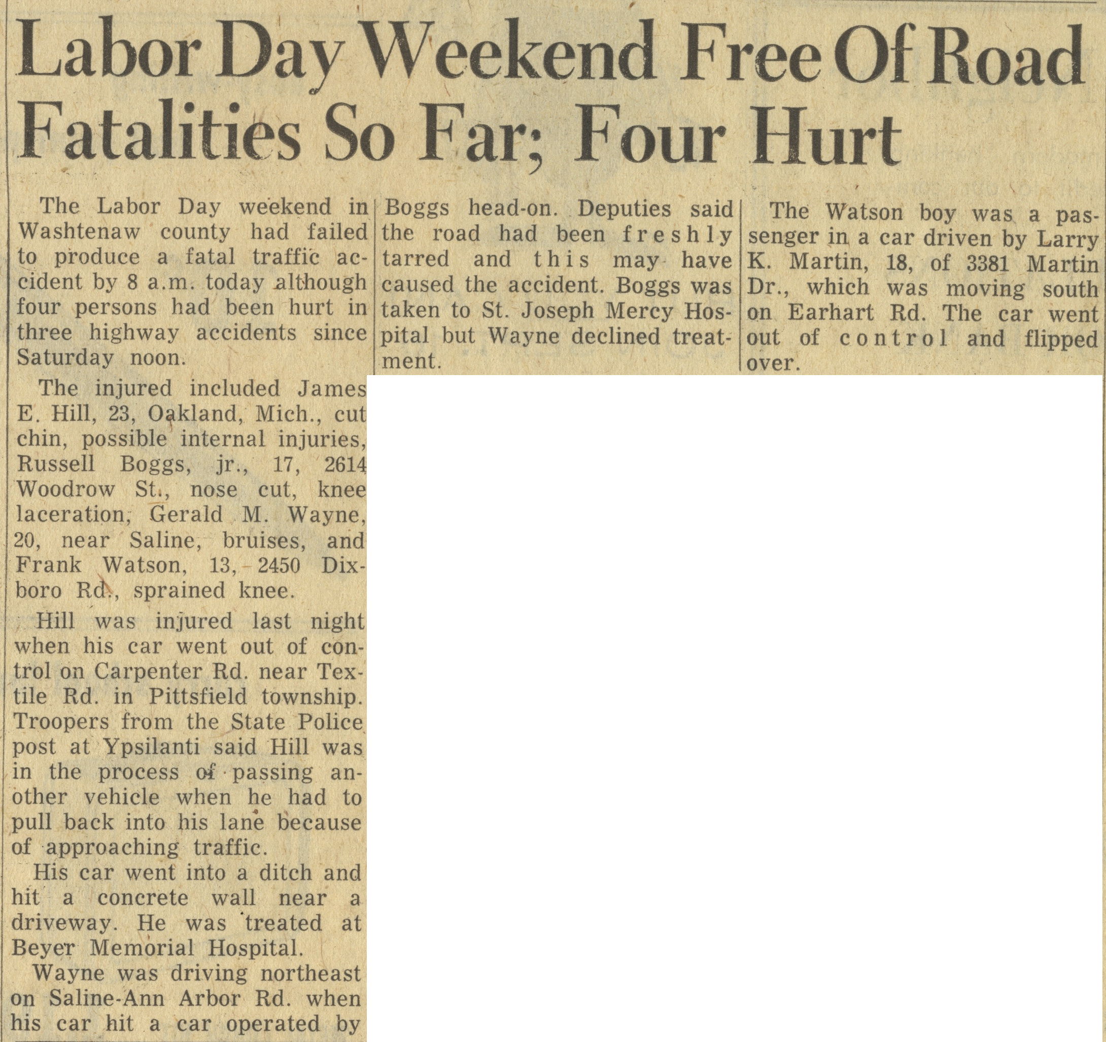 Labor Day Weekend Free Of Road Fatalities So Far image