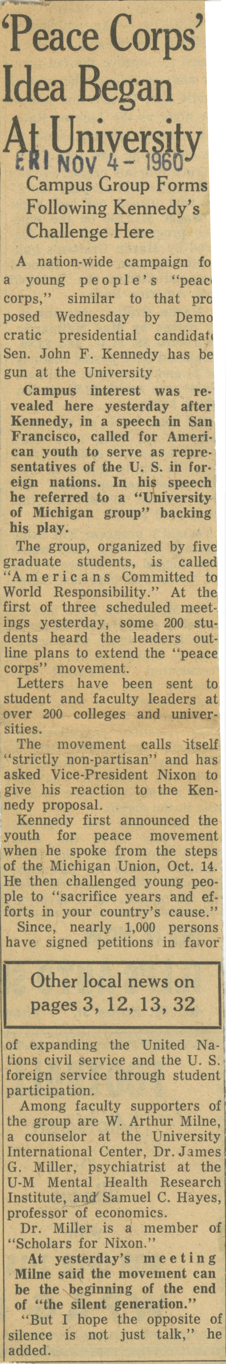 'Peace Corps' Idea Began At University image