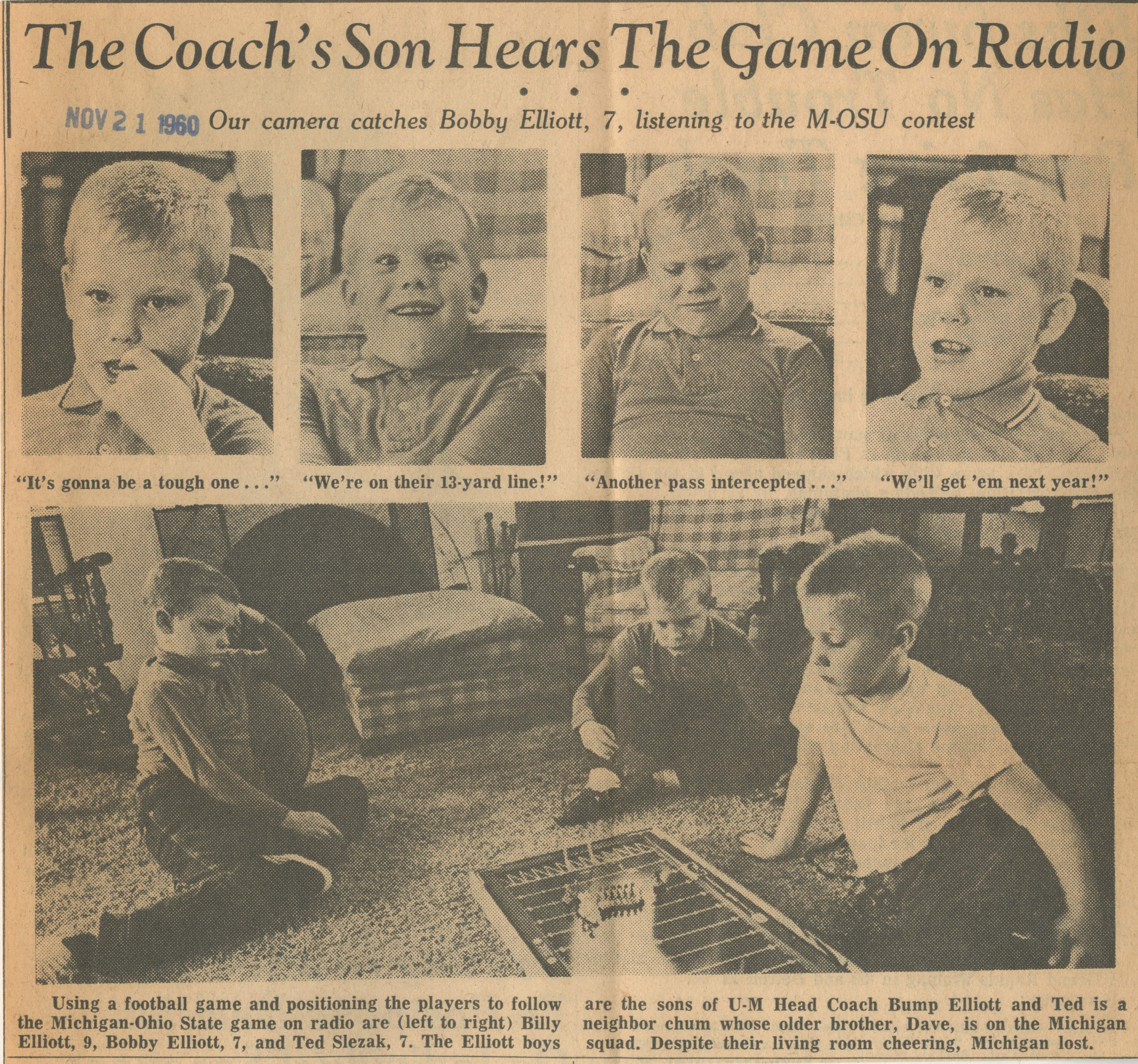 The Coach's Son Hears The Game On Radio image
