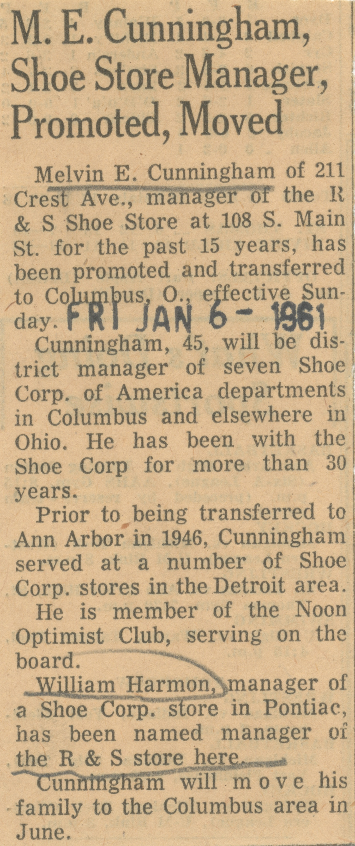 M. E. Cunningham, Shoe Store Manager, Promoted, Moved image