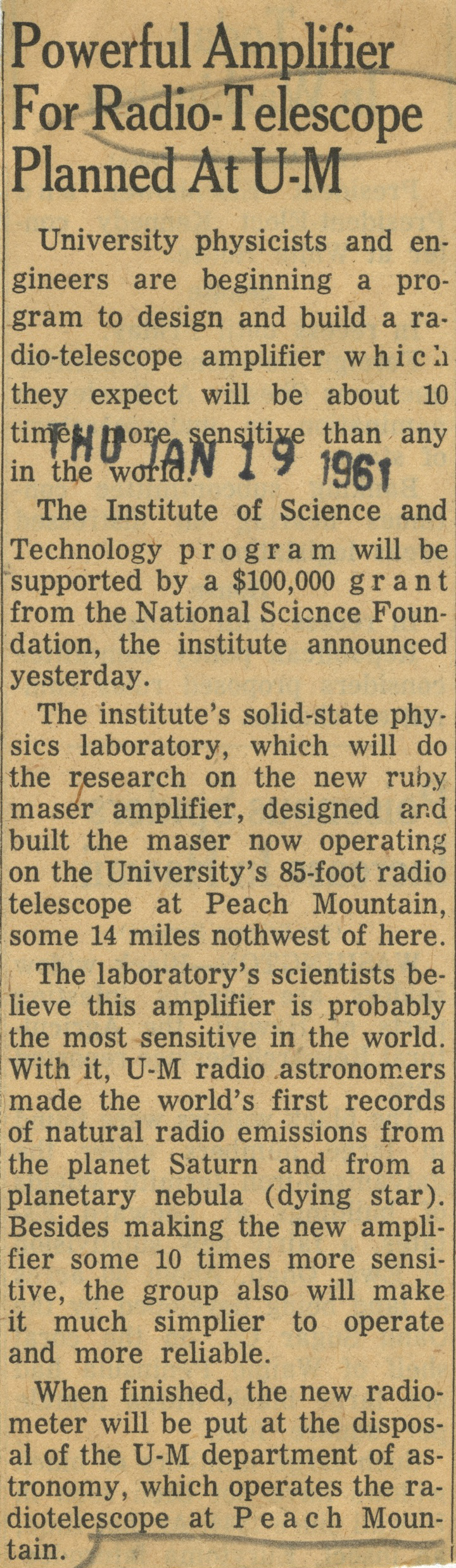 Powerful Amplifier For Radio-Telescope Planned At U-M image