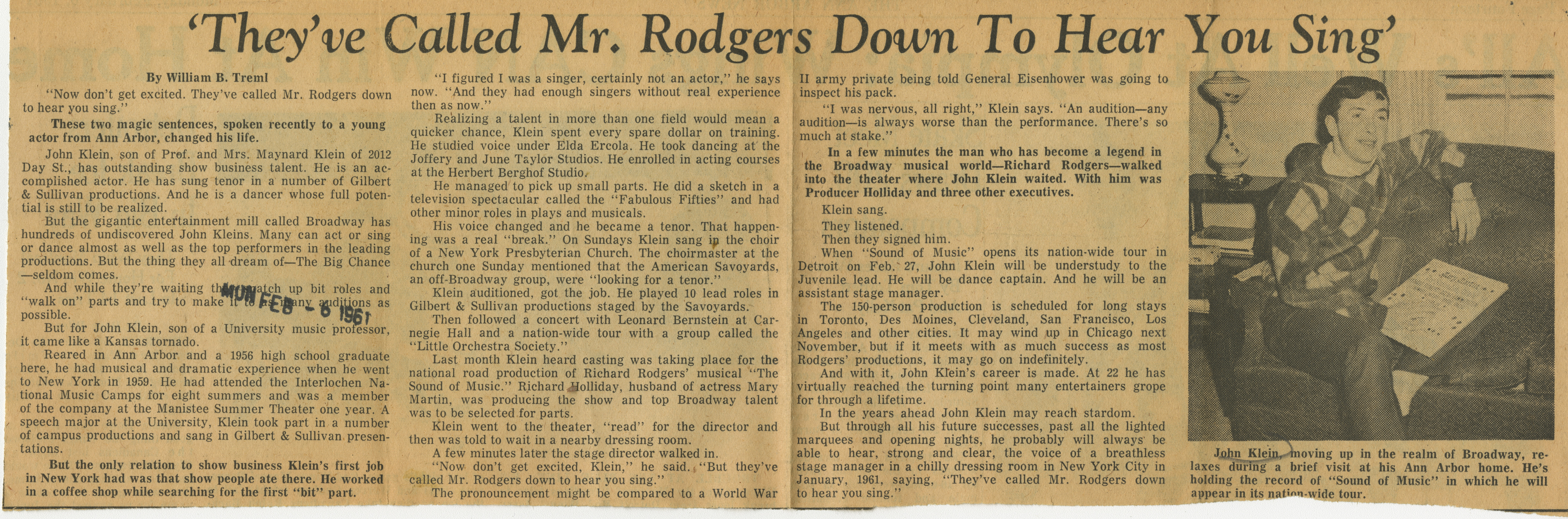 'They've Called Mr. Rodgers Down To Hear You Sing' image