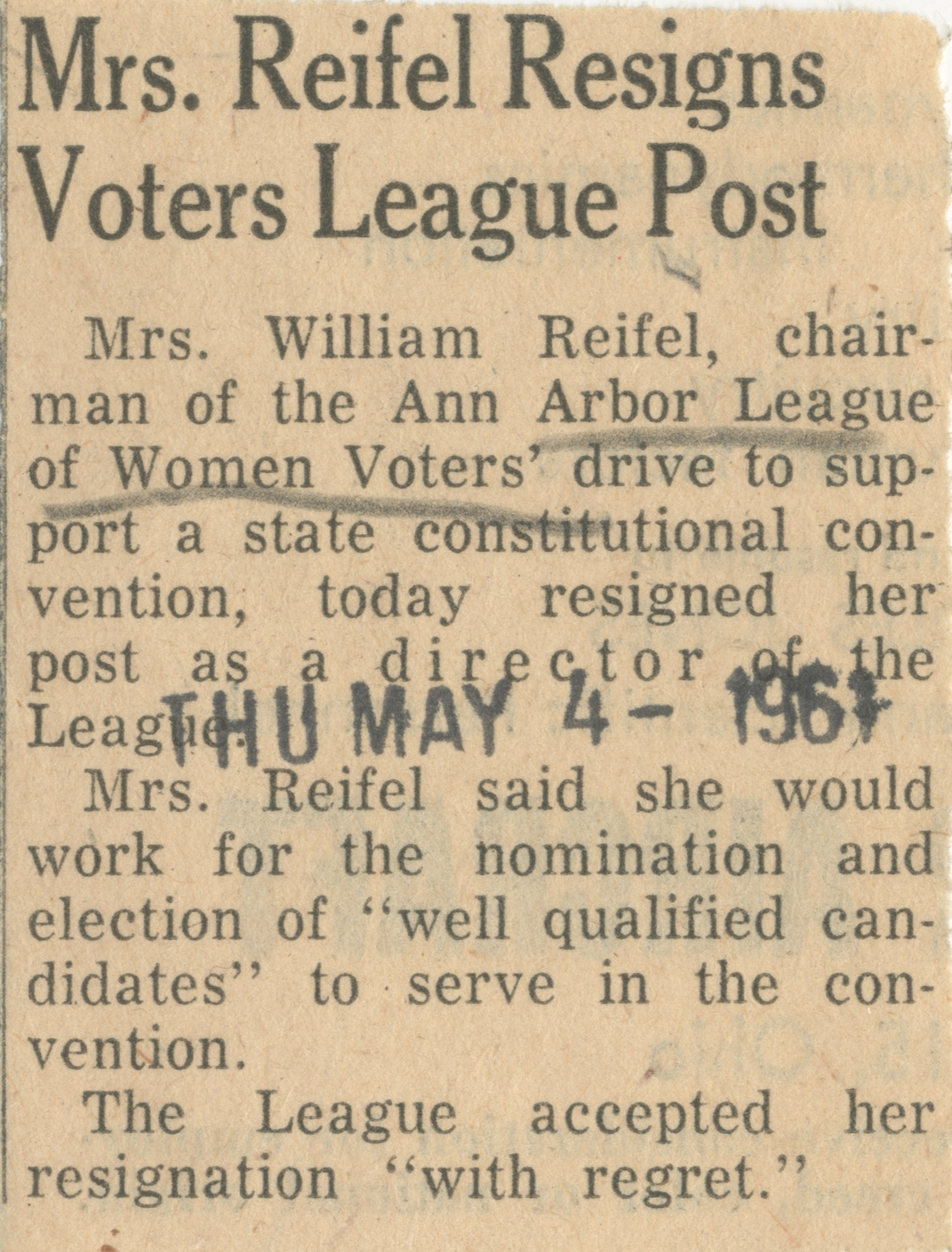 Mrs. Reifel Resigns Voters League Post image