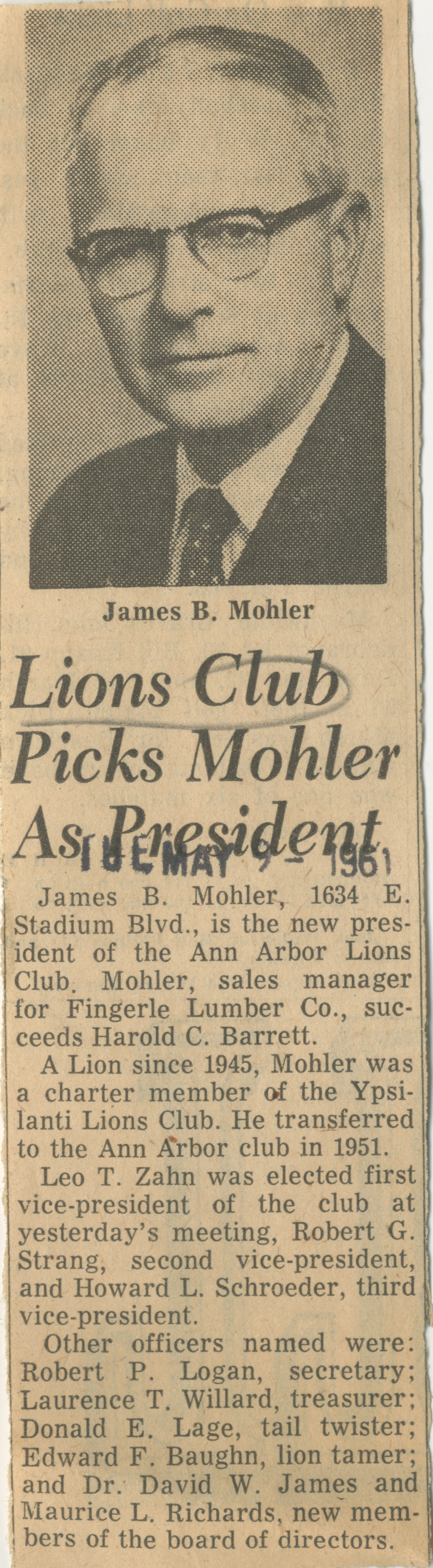 Lions Club Picks Mohler As President image