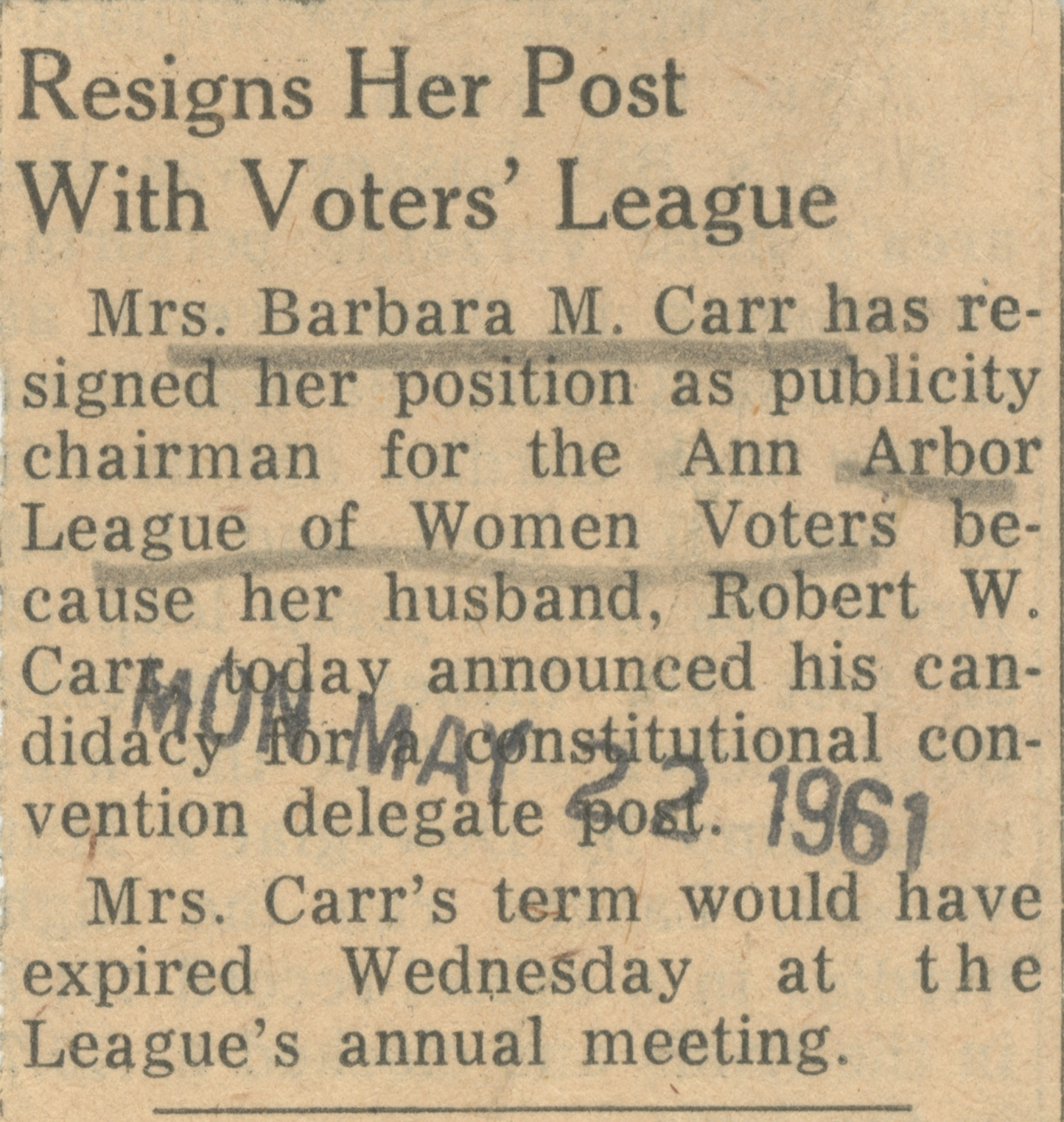 Resigns Her Post With Voters' League image