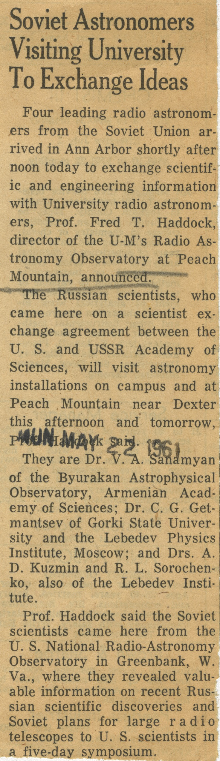 Soviet Astronomers Visiting University To Exchange Ideas image