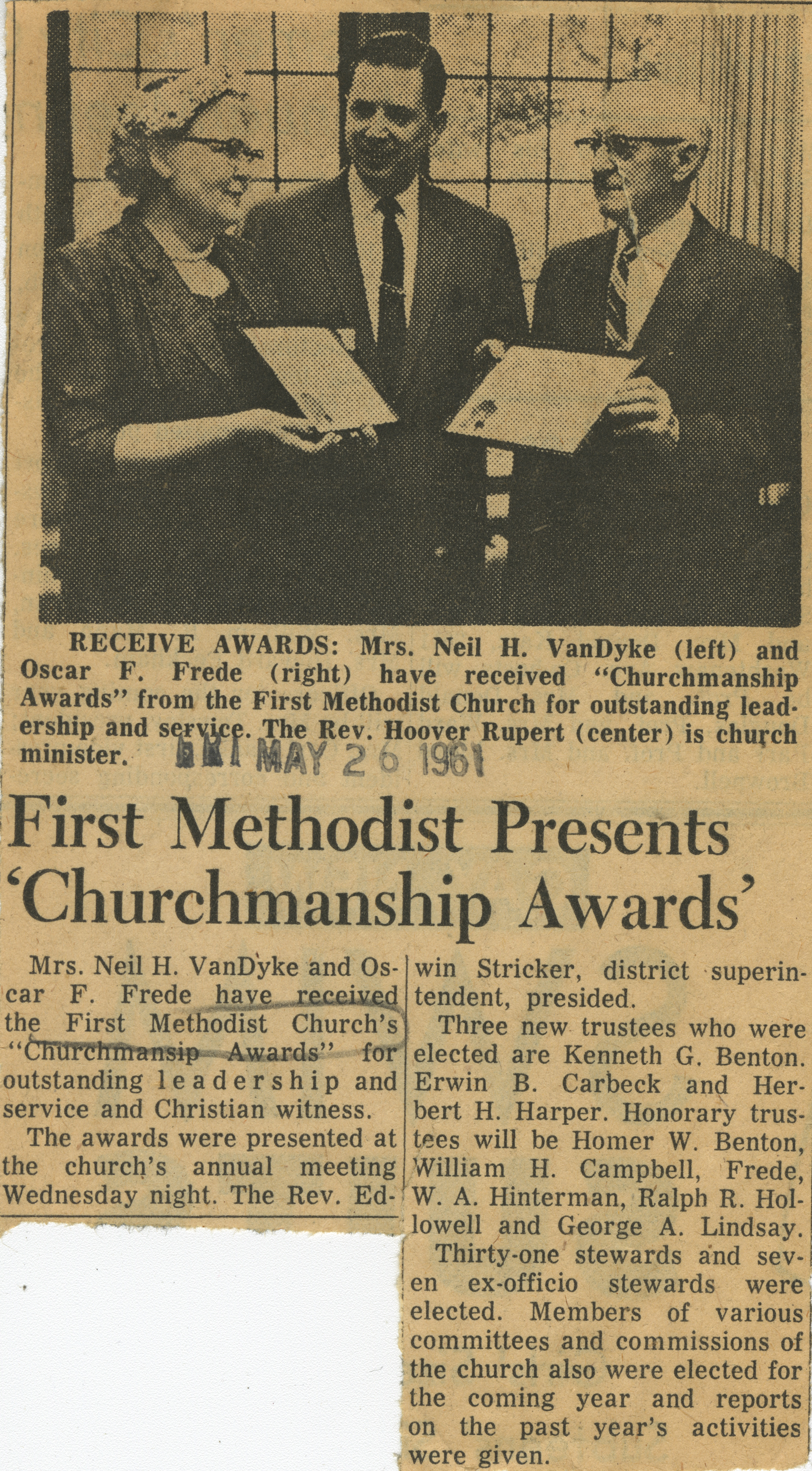 First Methodist Presents 'Churchmanship Awards' image