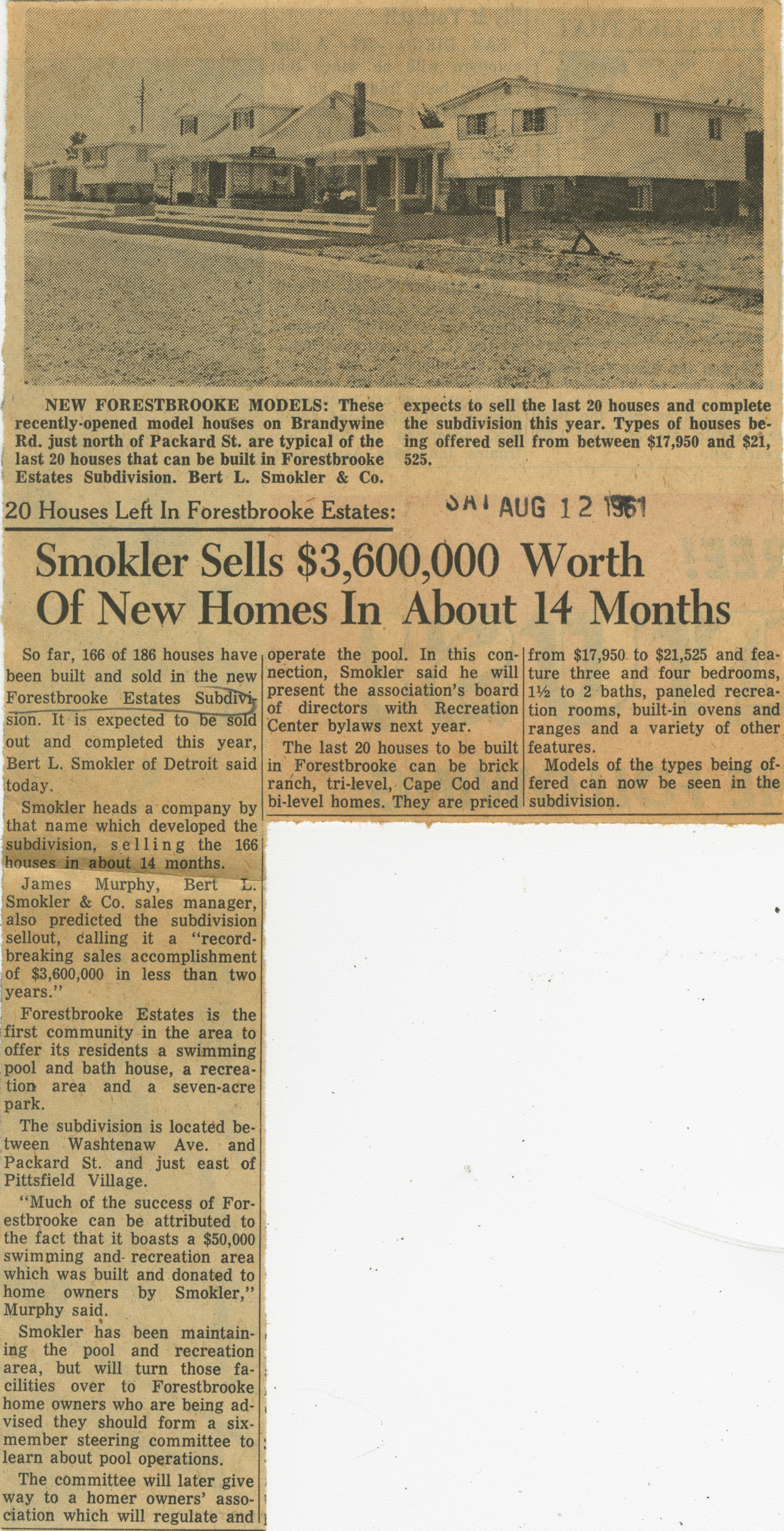 Smokler Sells $3,600,000 Worth Of New Homes In About 14 Months image