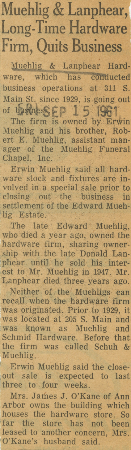 Muehlig & Lanphear, Long-Time Hardware Firm, Quits Business image