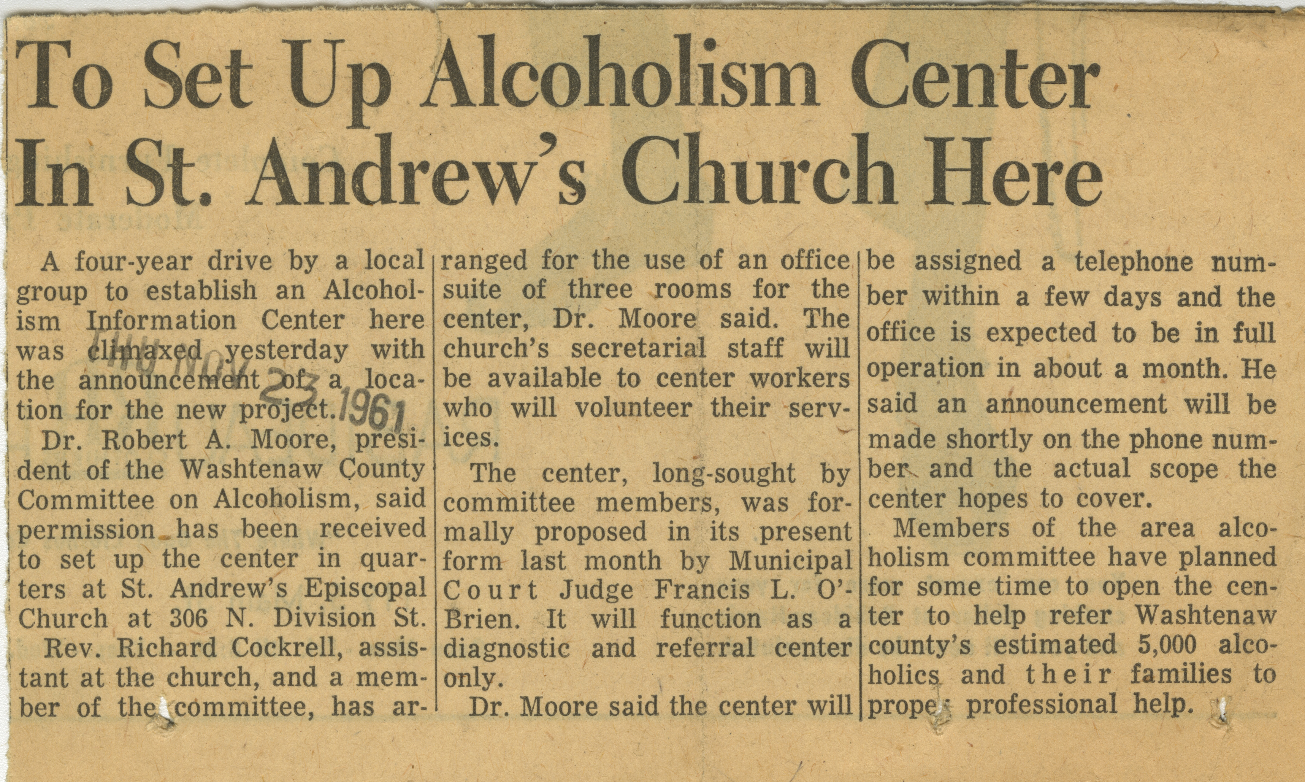 To Set Up Alcoholism Center In St. Andrew's Church Here image