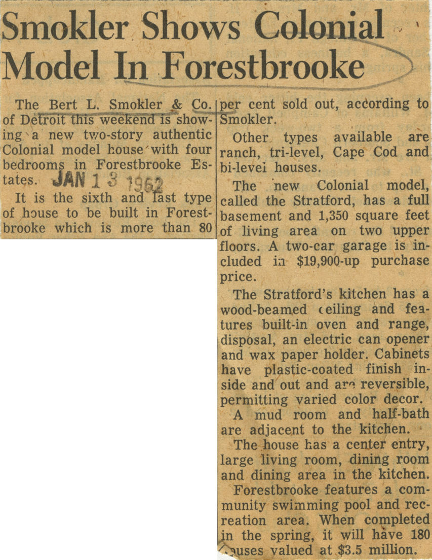 Smokler Shows Colonial Model In Forestbrooke image