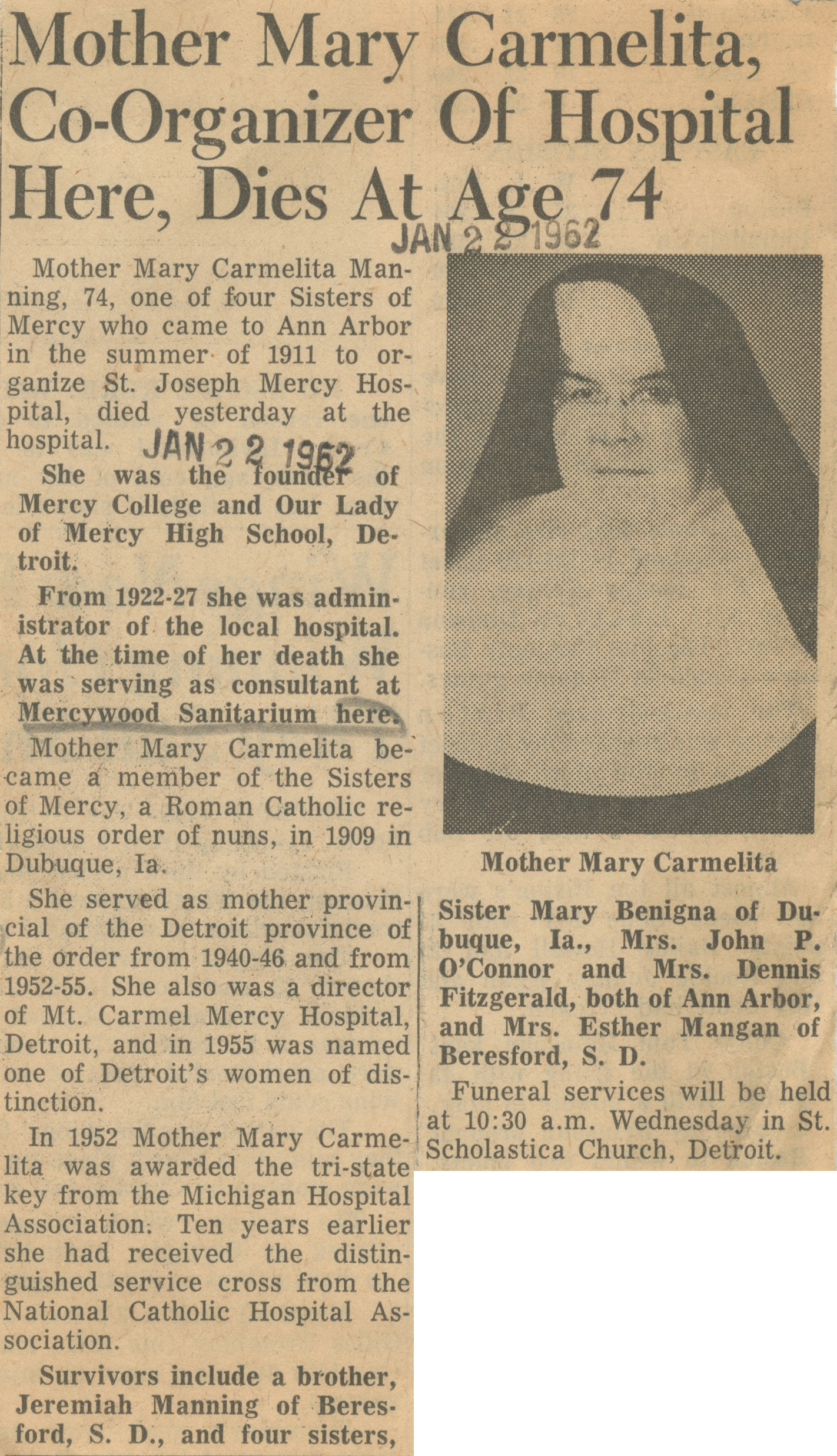 Mother Mary Carmelita, Co-Organizer Of Hospital Here, Dies At Age 74 image