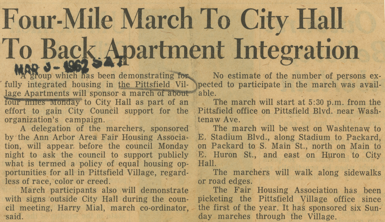 Four-Mile March To City Hall To Back Apartment Integration  image
