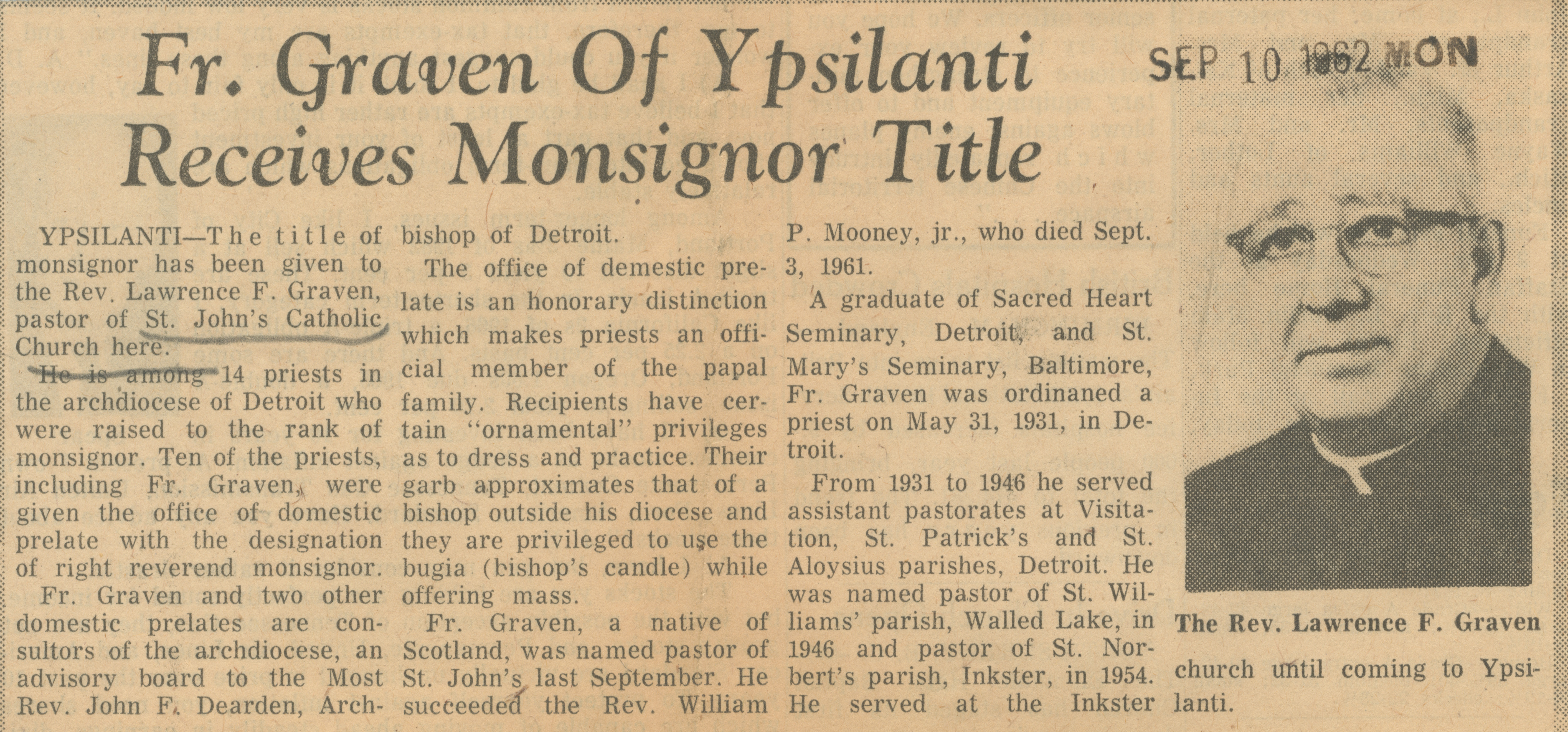 Fr. Graven of Ypsilanti Receives Monsignor Title  image