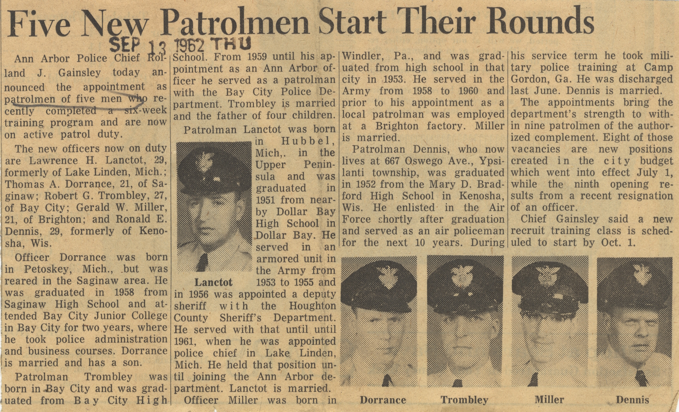 Five New Patrolmen Start Their Rounds image