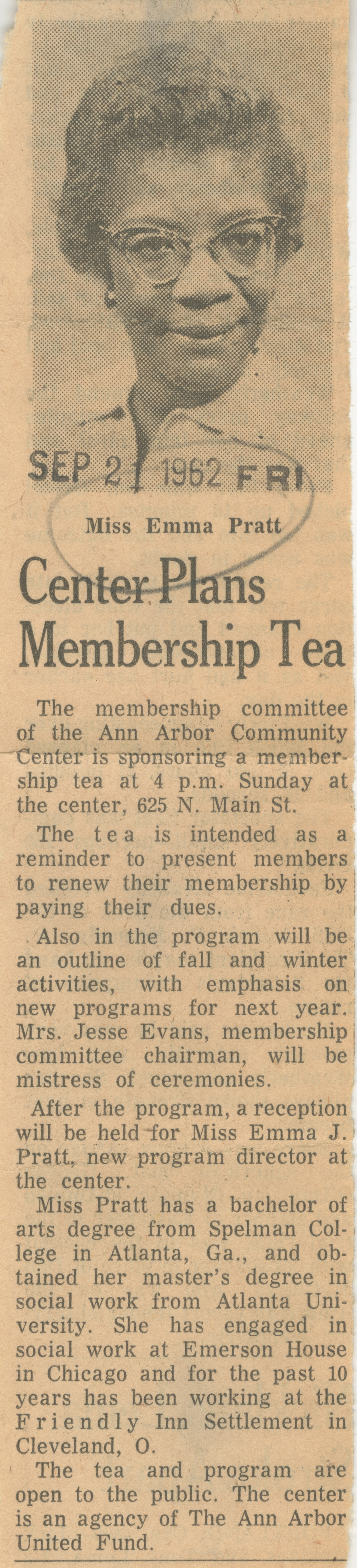 Center Plans Membership Tea image